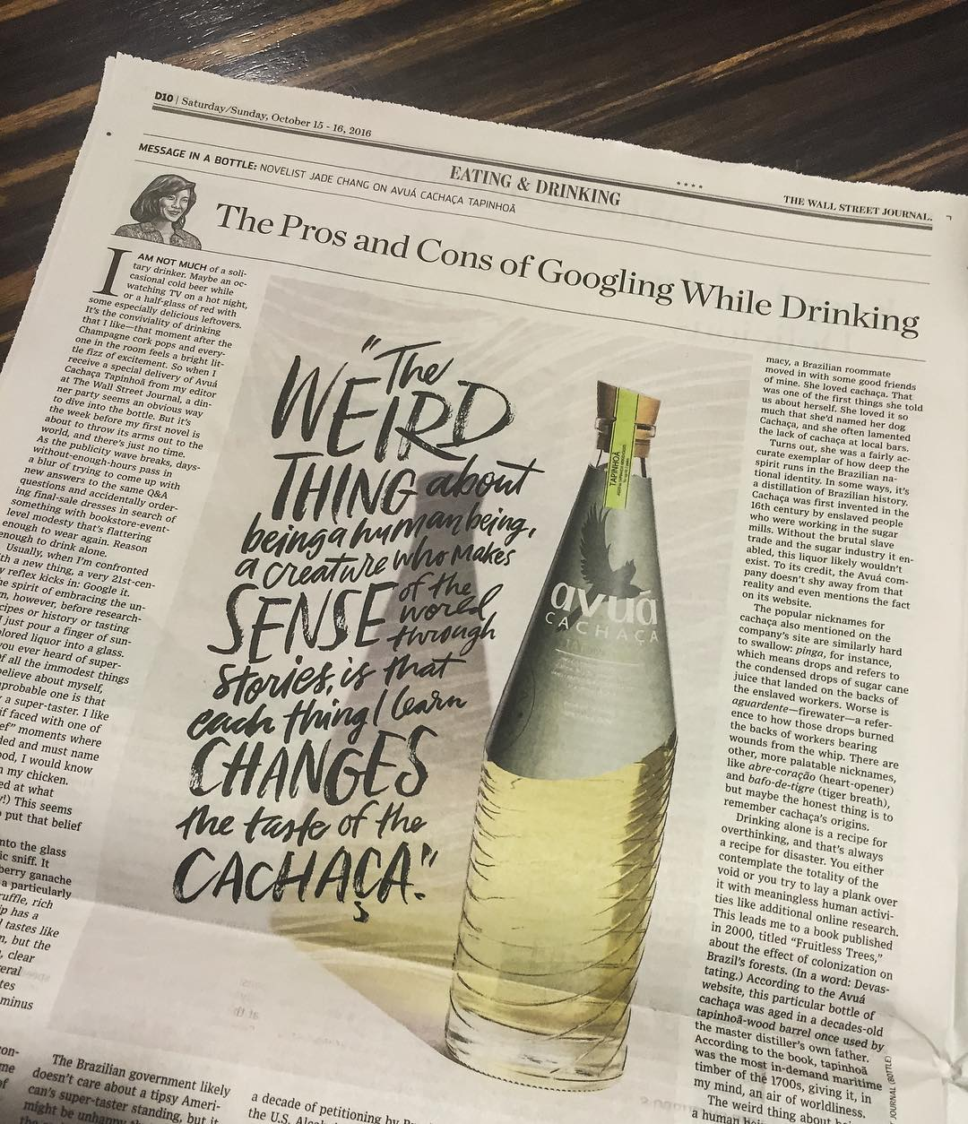 Here it is in print!  Message in a bottle in the Wall Street Journal featuring Avuá Tapinhoã #thrillofdiscovery.jpg