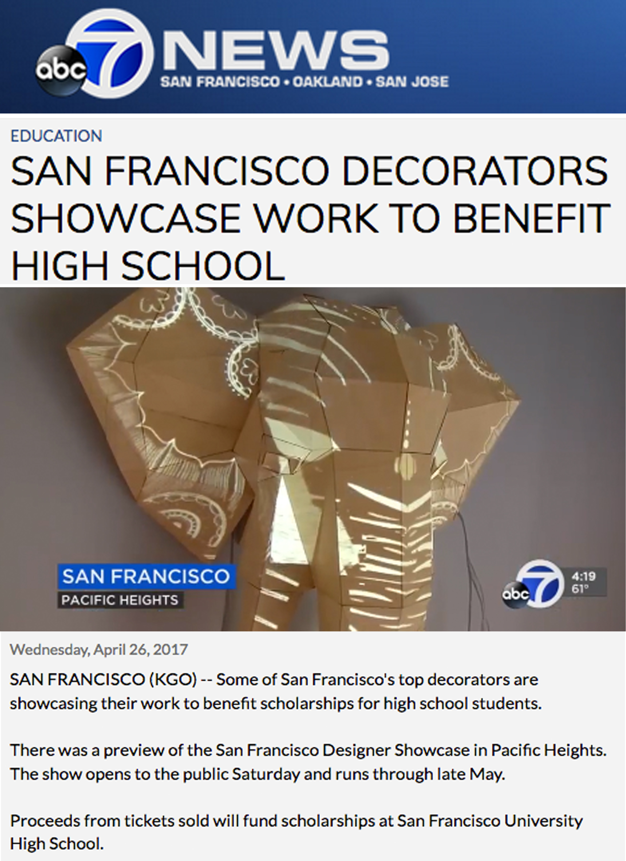 ABC 7 News - Our Elephant Light illuminates the 2017 SF Decorator Showcase. Link: http://abc7ne.ws/2pyYMwm