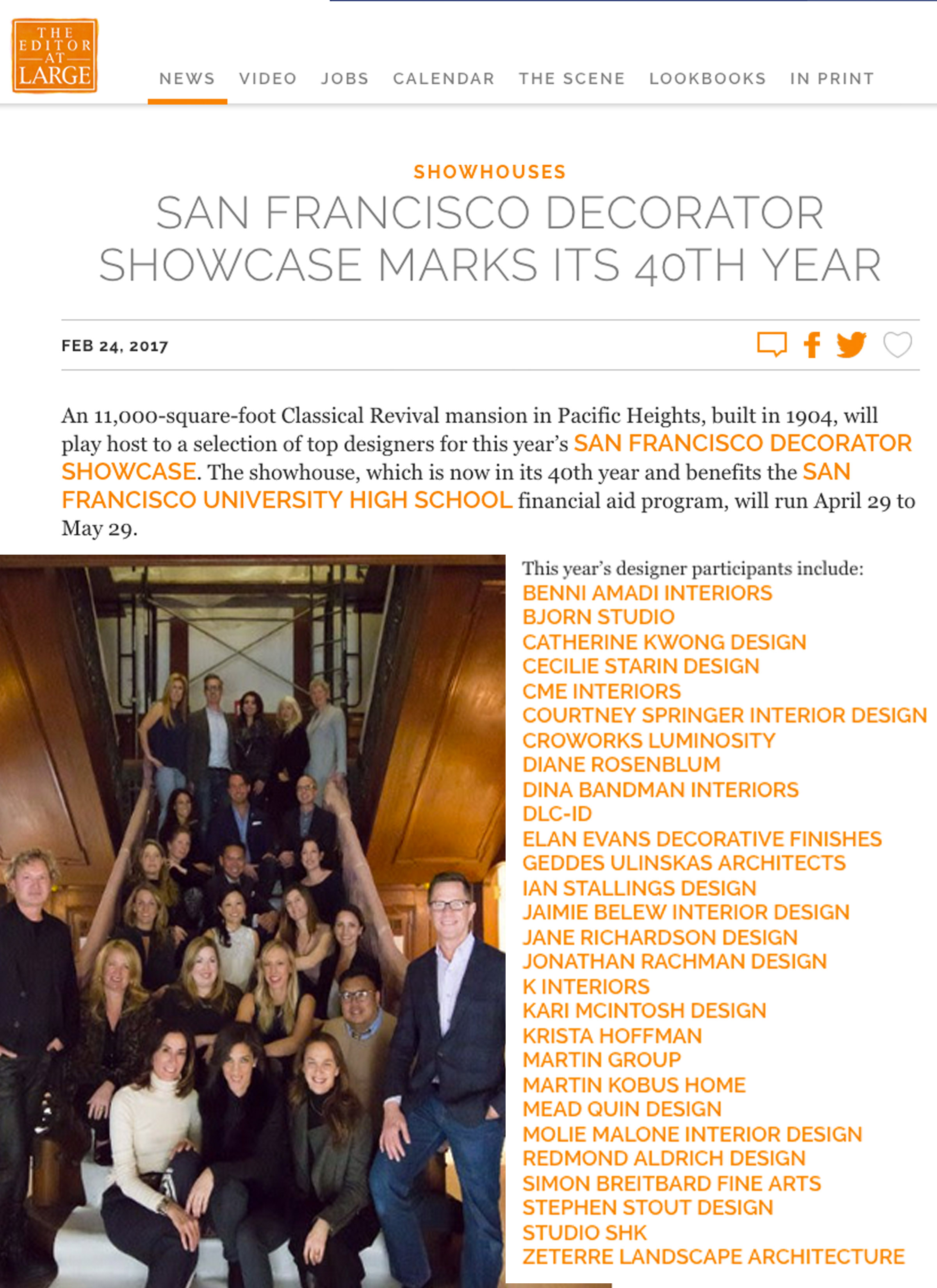 Editor at Large - EditorAtLarge.com spotlights this year's SF Decorator Showcase designers.