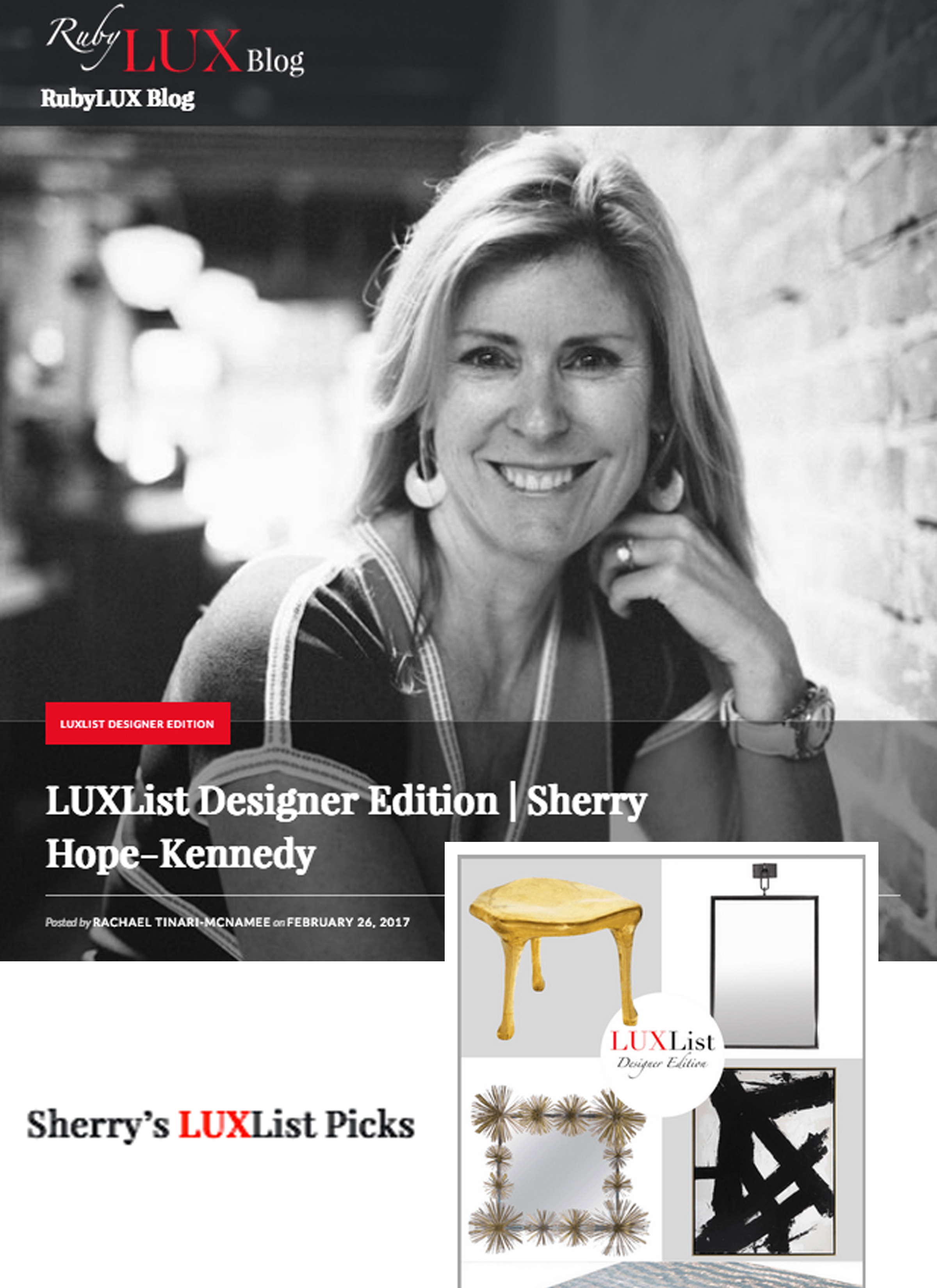 RubyLux - Sherry Hope-Kennedy featured on LUXList Designer Edition. Link: http://bit.ly/2q55vBH