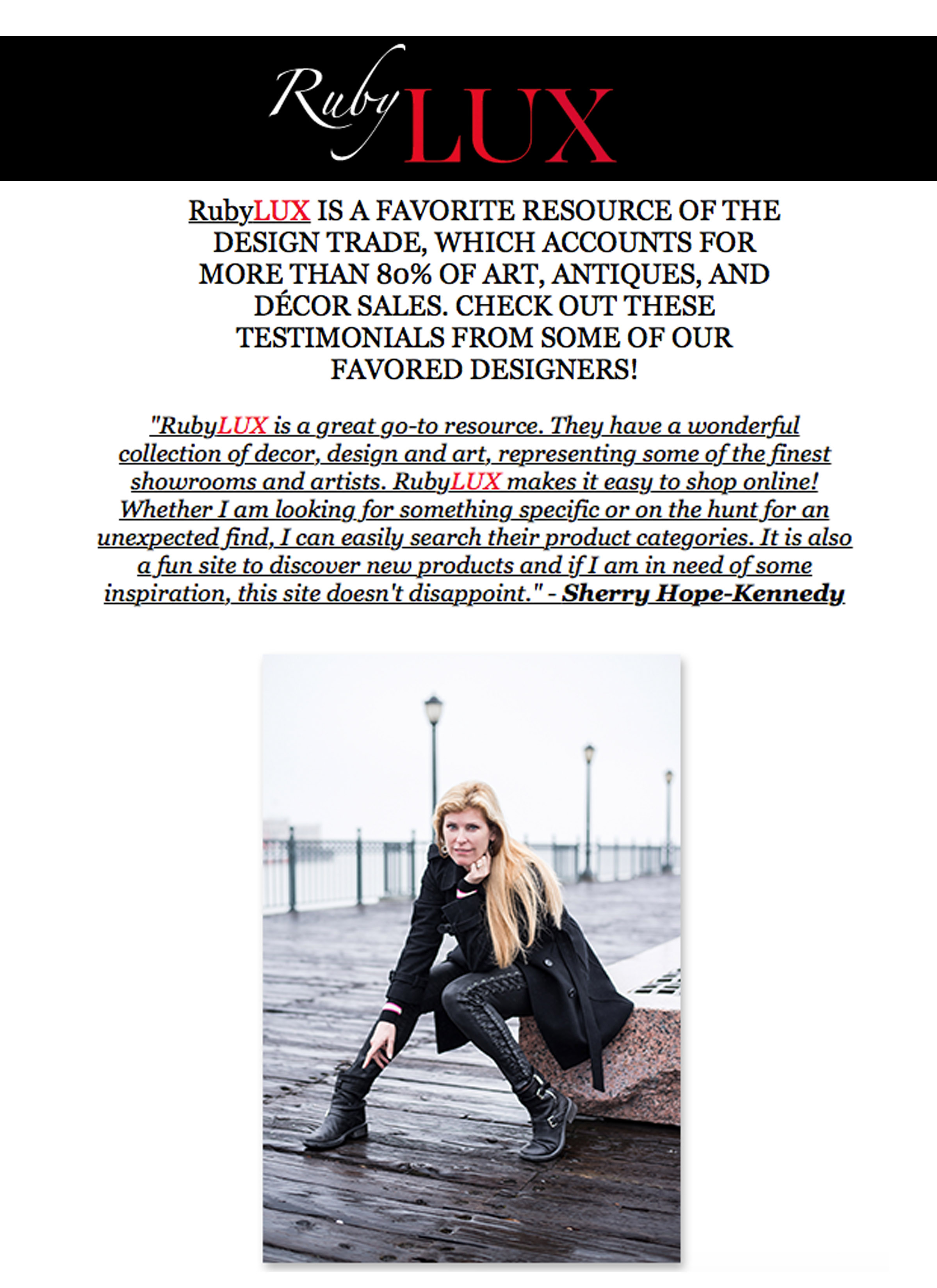 RubyLux eNews - Sherry shares why she likes RubyLux in their eNewsletter