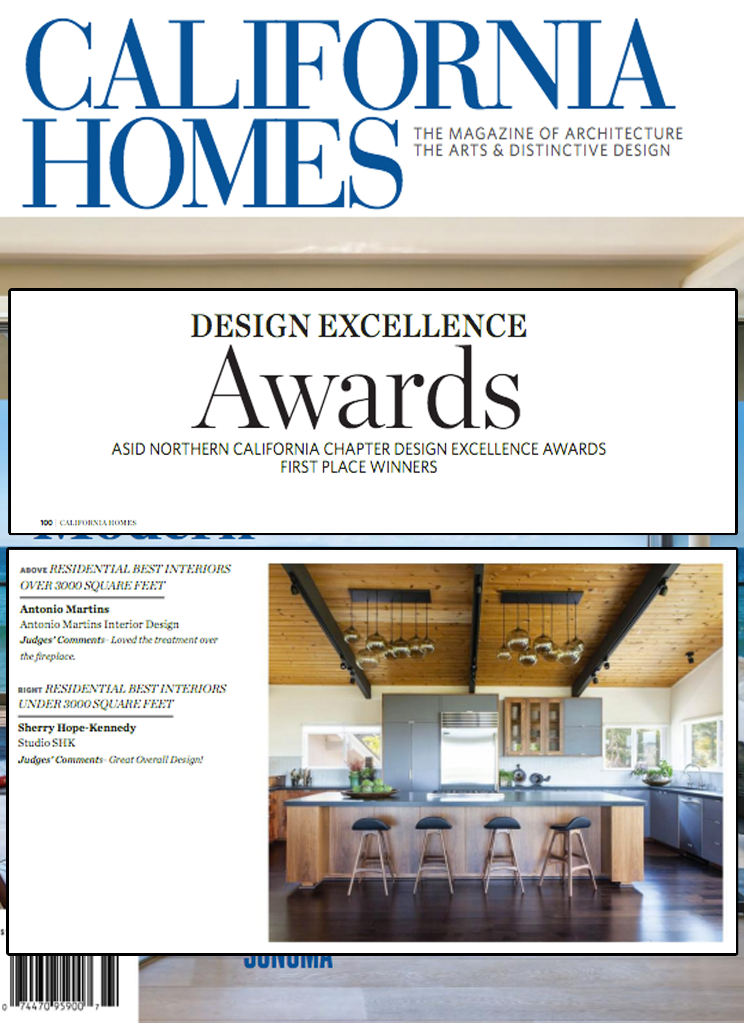 California Homes - Studio SHK's Modern Zen residence was profiled in the Winter 2015-16 edition of California Homes. The design won the ASID Northern Calif. Chapter Design Excellence Awards for Best Residential Interiors Under 3,000-SF.