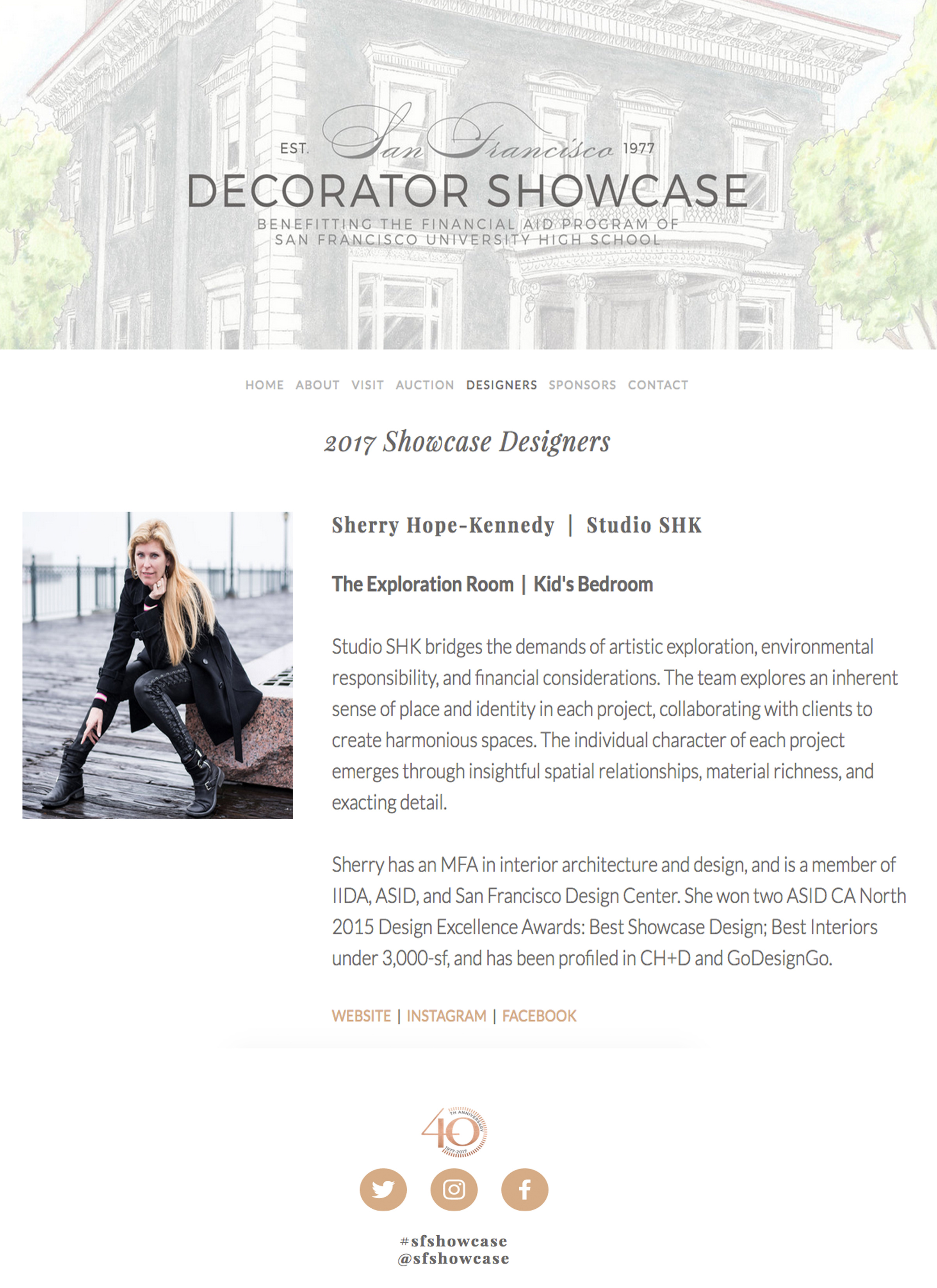 SF Decorator Showcase - San Francisco Decorator Showcase names Sherry as a 2017 Showcase designer, profiling Studio SHK.