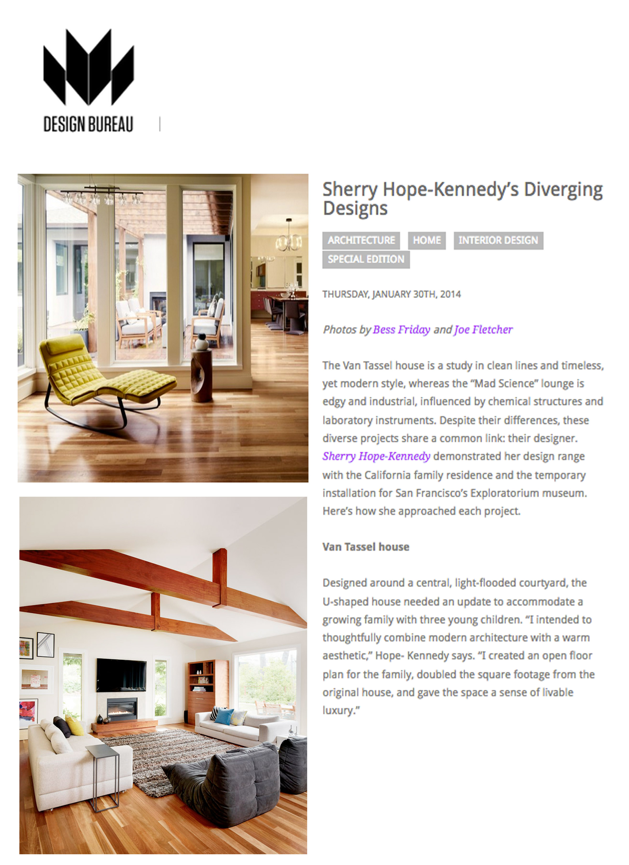 Design Bureau - Studio SHK's Van Tassel house is featured on Design Bureau. Link: http://bit.ly/2qXC1Xw
