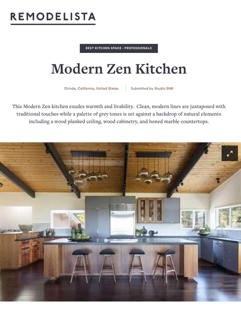 Remodelista - Our Modern Zen kitchen is a contender for the 2017 Remodelista Design Awards in the Best Kitchen Space - Professional category.