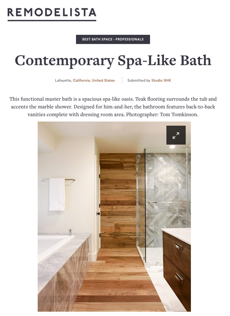Remodelista - Our spa-like master bath is a contender for the 2017 Remodelista Design Awards in the Best Bath Space - Professional category.
