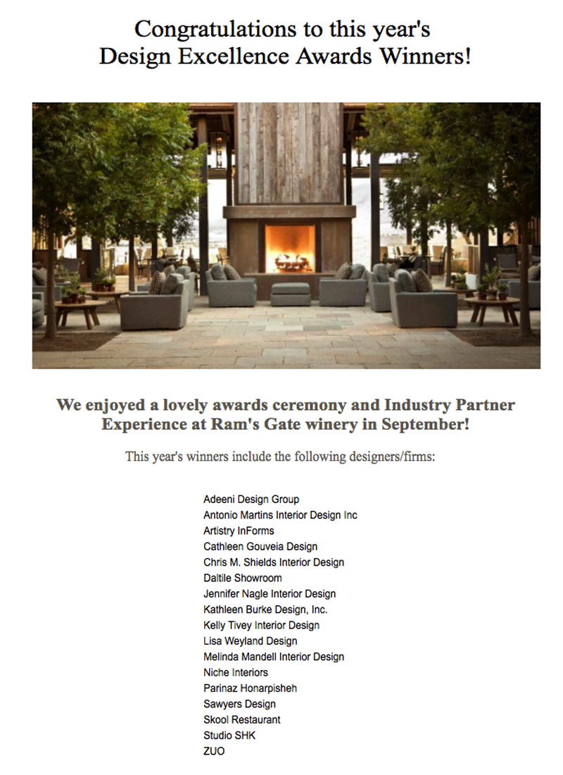 ASID Newsletter - ASID spreads the news about their Chapter winners across many interesting categories within the field of Interior Design.