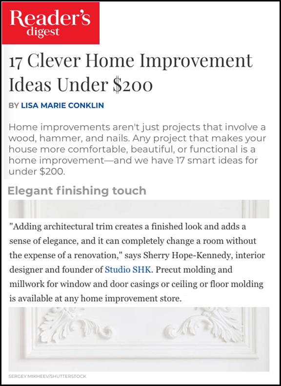 Reader's Digest - Sherry shares her clever home improvement tip for an online Reader's Digest article.LINK: https://bit.ly/2GxQpux