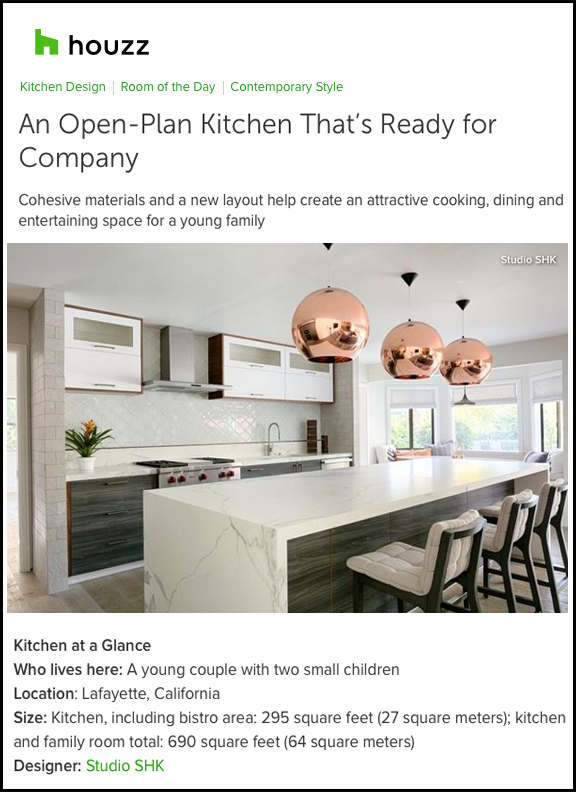 Houzz - Houzz profiles Studio SHK's Contemporary Kitchen, detailing how