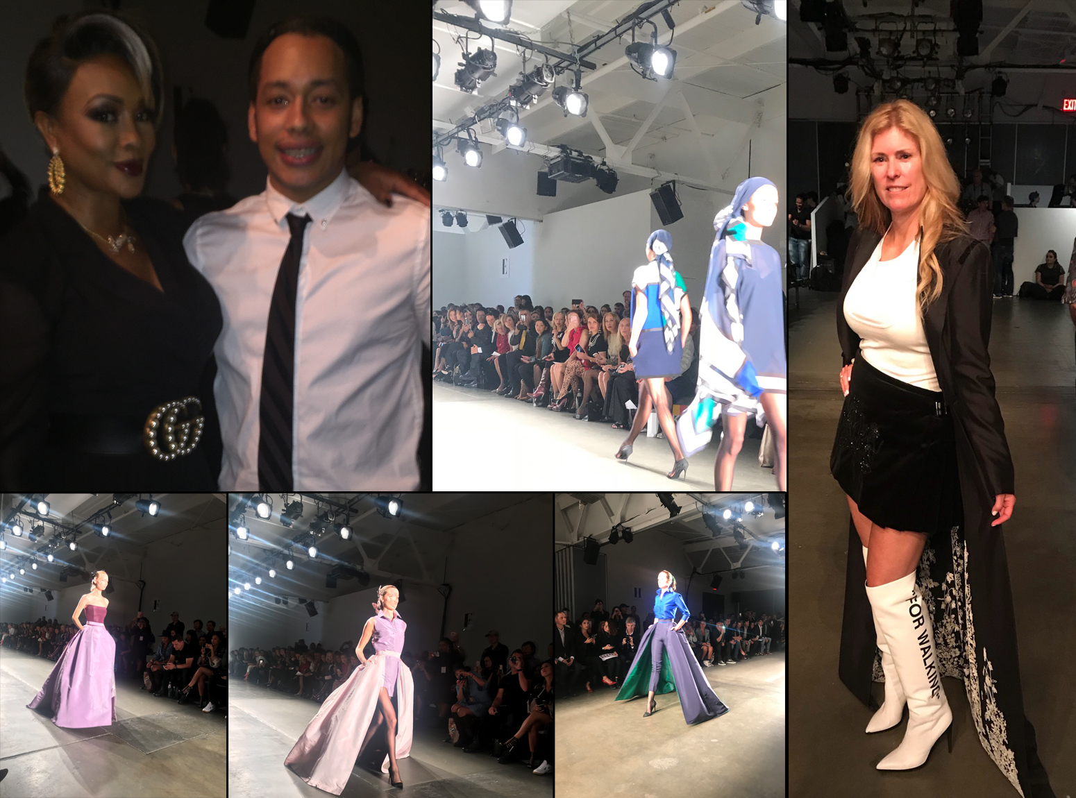 Clockwise: Vivica Fox with Foster from Studio SHK, The Housewives of NYC sitting front row, Sherry Hope-Kennedy wearing Zang Toi, and runway models showing the new Zang Toi collection.