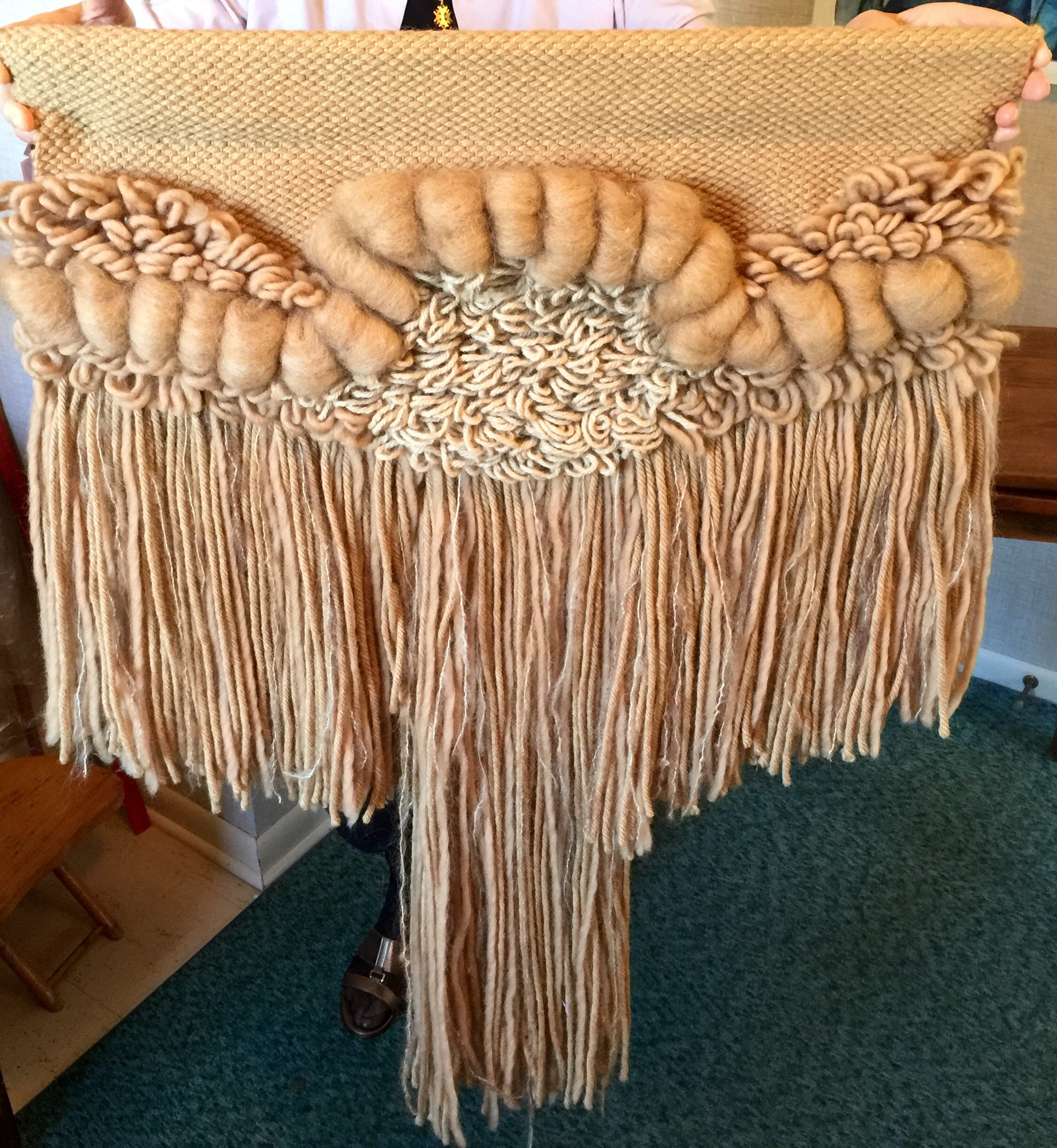 Wall hanging made in 1982 by fiber artist and Goshen College Professor,  Altha Hertzler,    Value: $200    Starting Bid: $120