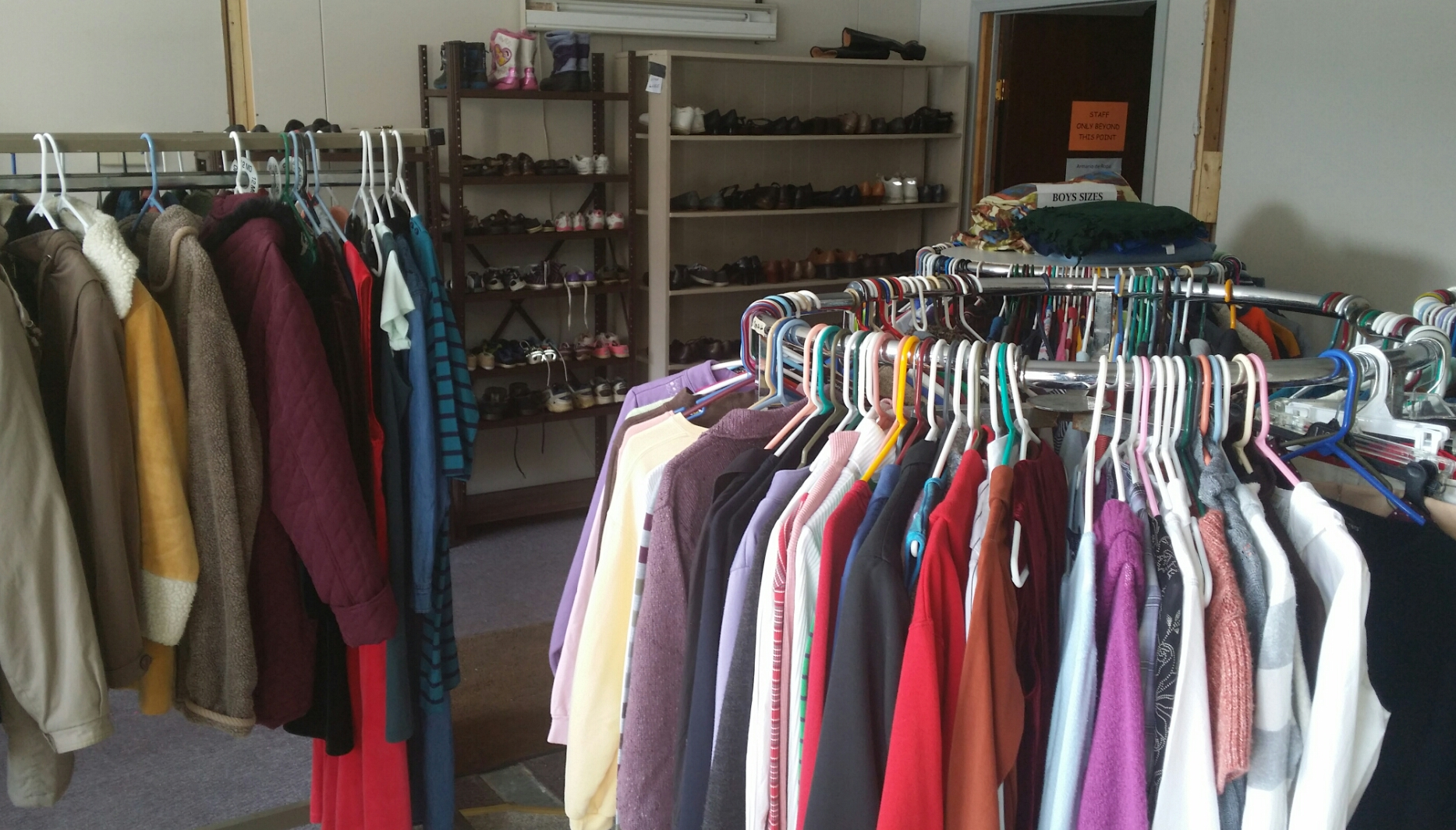 Clothes Closet stocked and ready for shoppers.