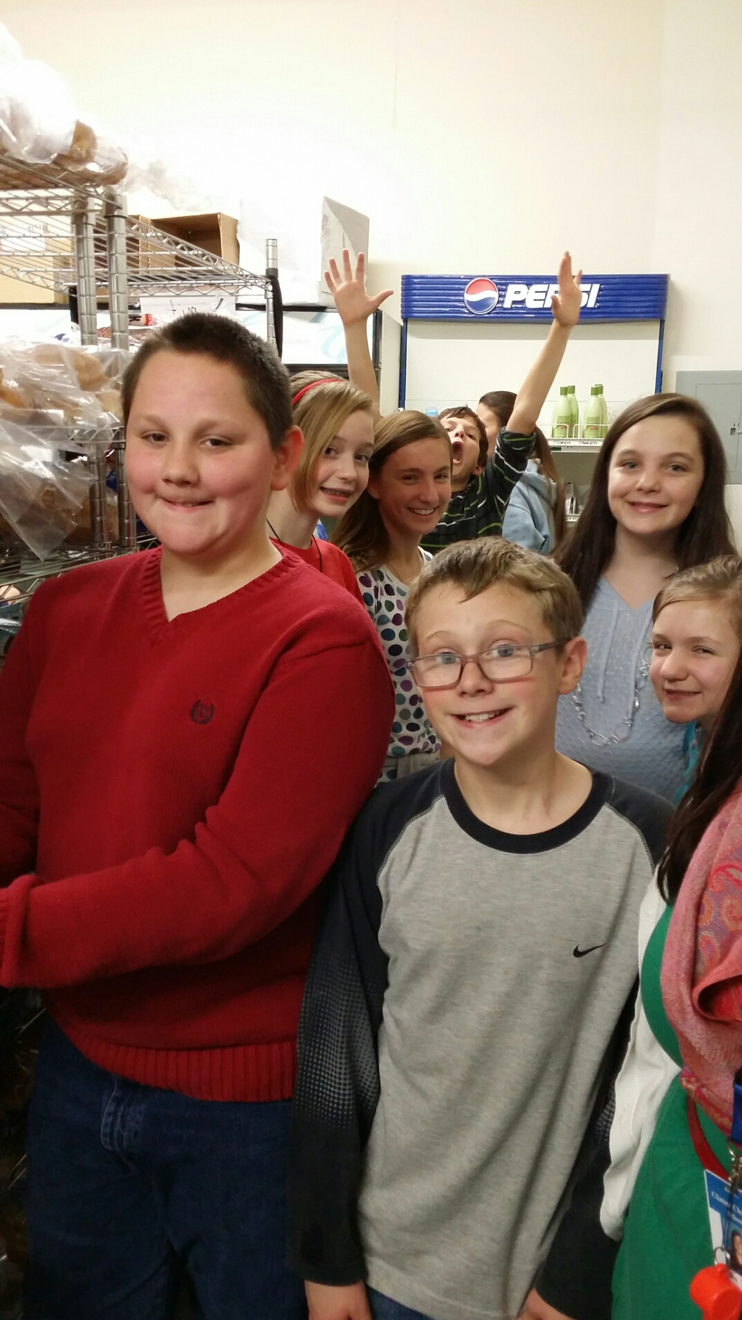 These kids are revved up and ready to sort through the bread racks!