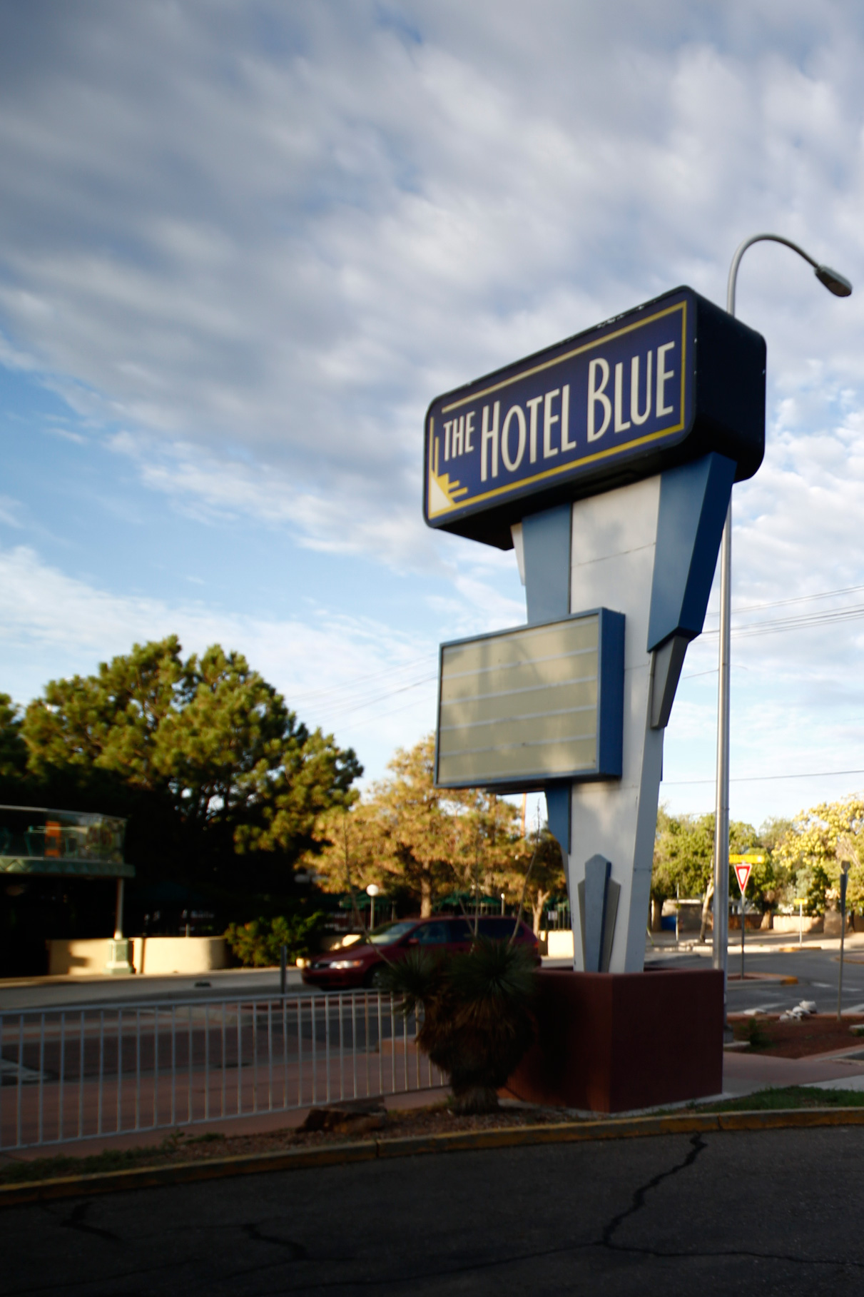 The Hotel Blue sign