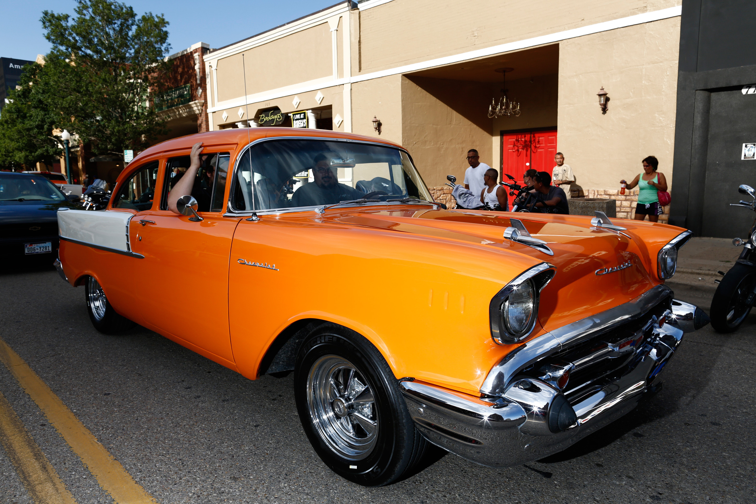 My old friend, Warren, corrected me. This is a '57 210 Single-post Chevy, not an Ol' 55. My bad.