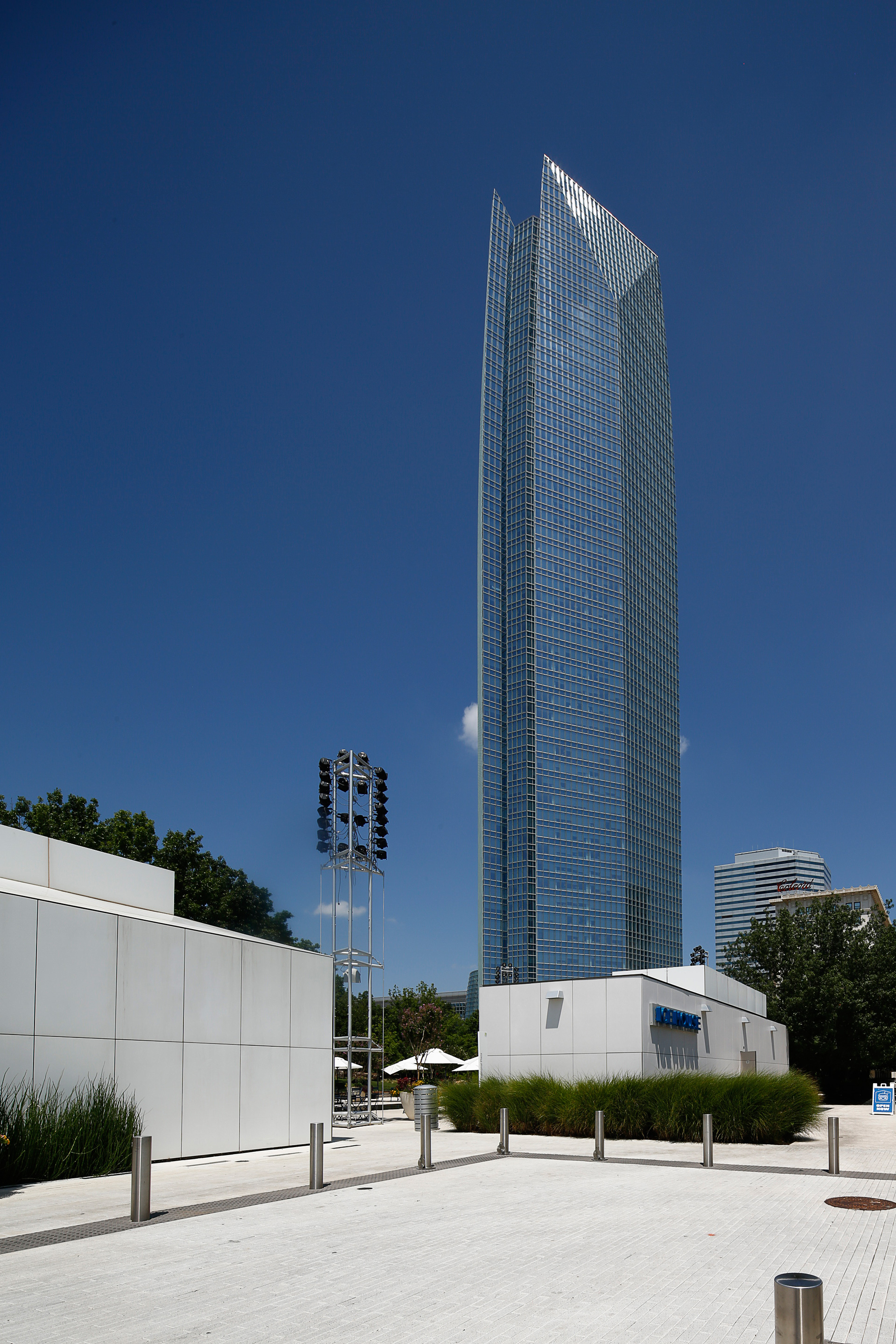 Devon Energy Towers above the Park House and Ice House