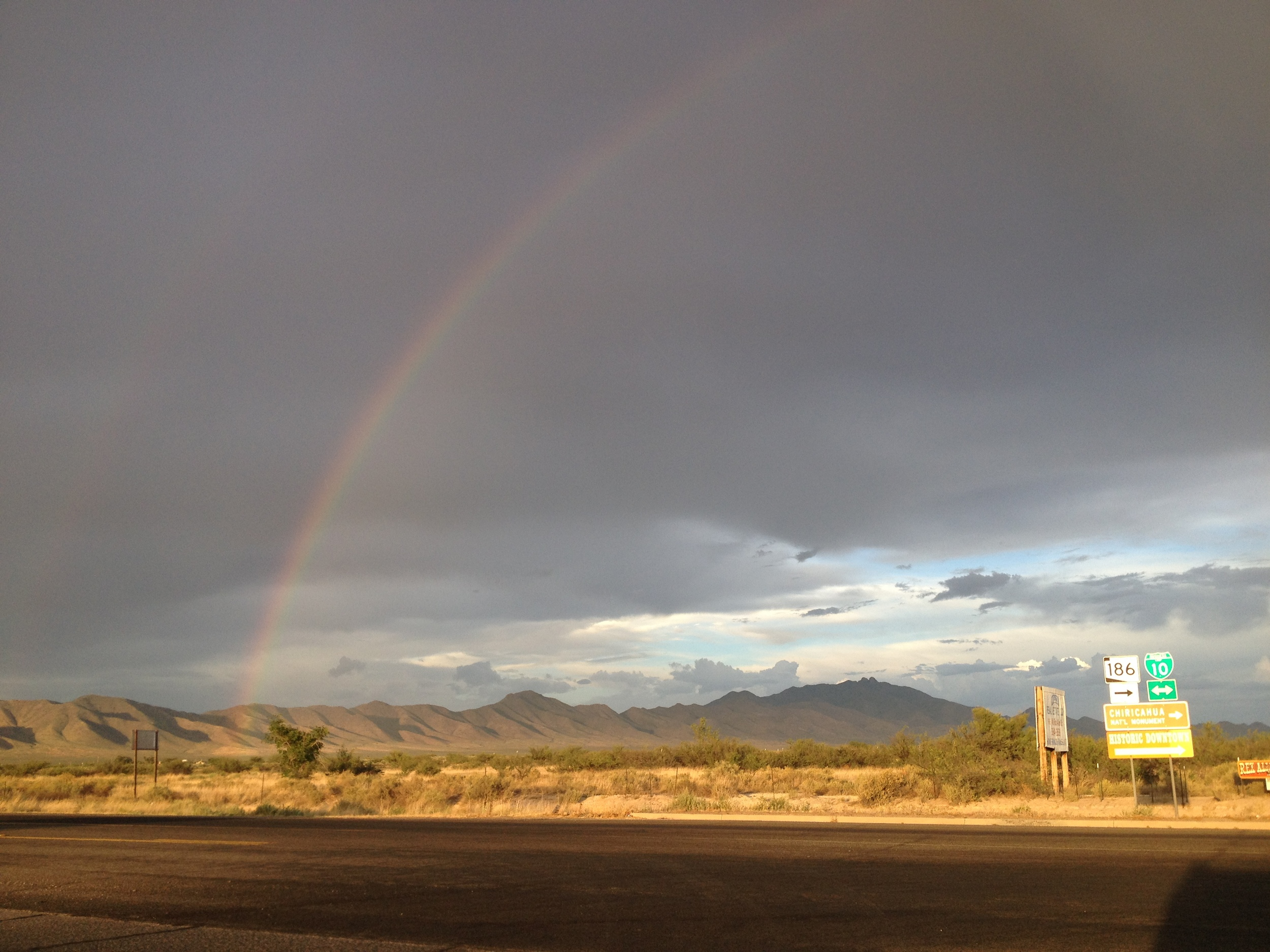 Double rainbow at Willcox, AZ twenty minutes before sunset. Look closely. See that pot of gold?
