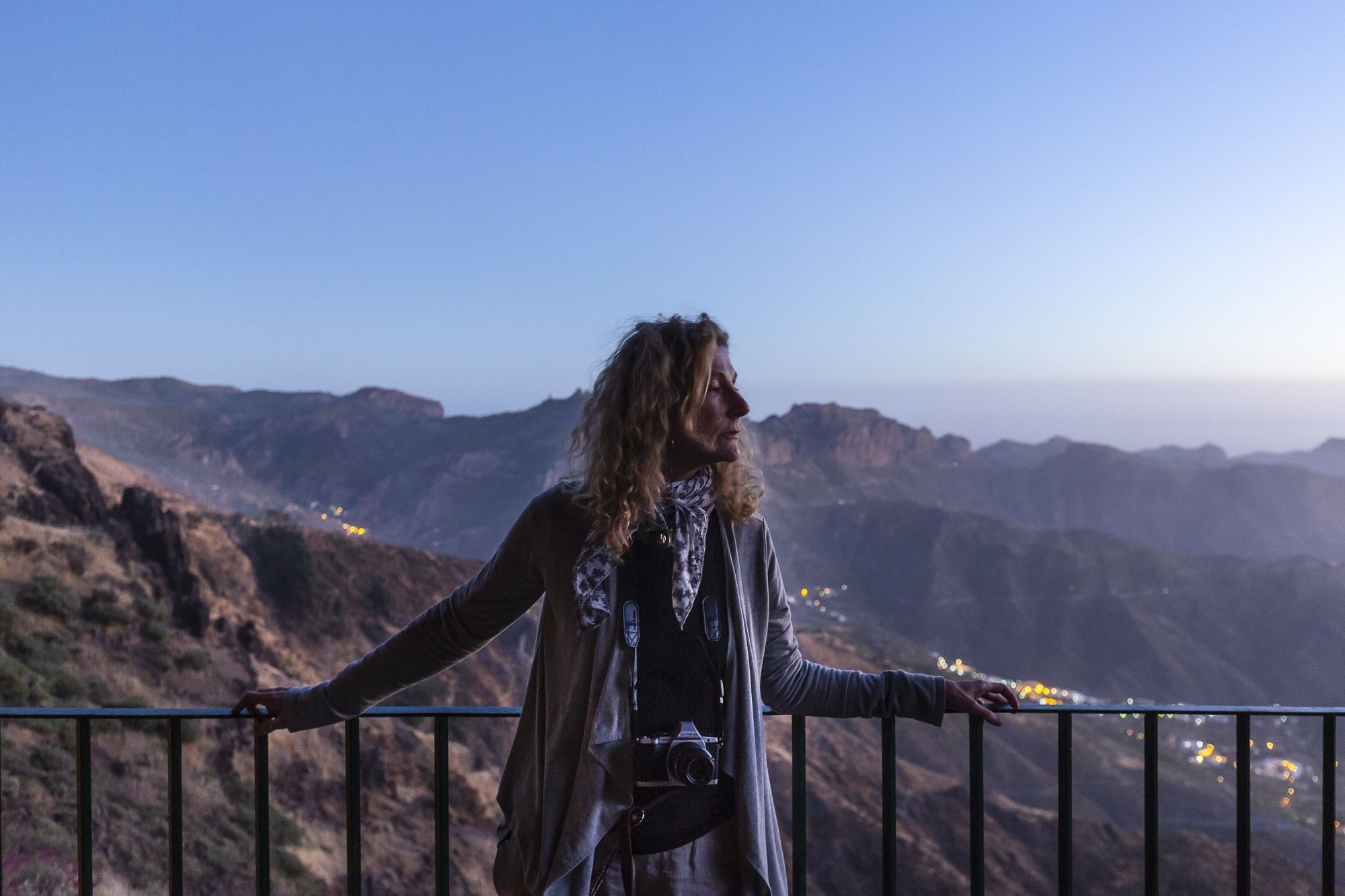 Enjoying the sunset on the peak during a one-to-one photography workshop in Gran Canaria