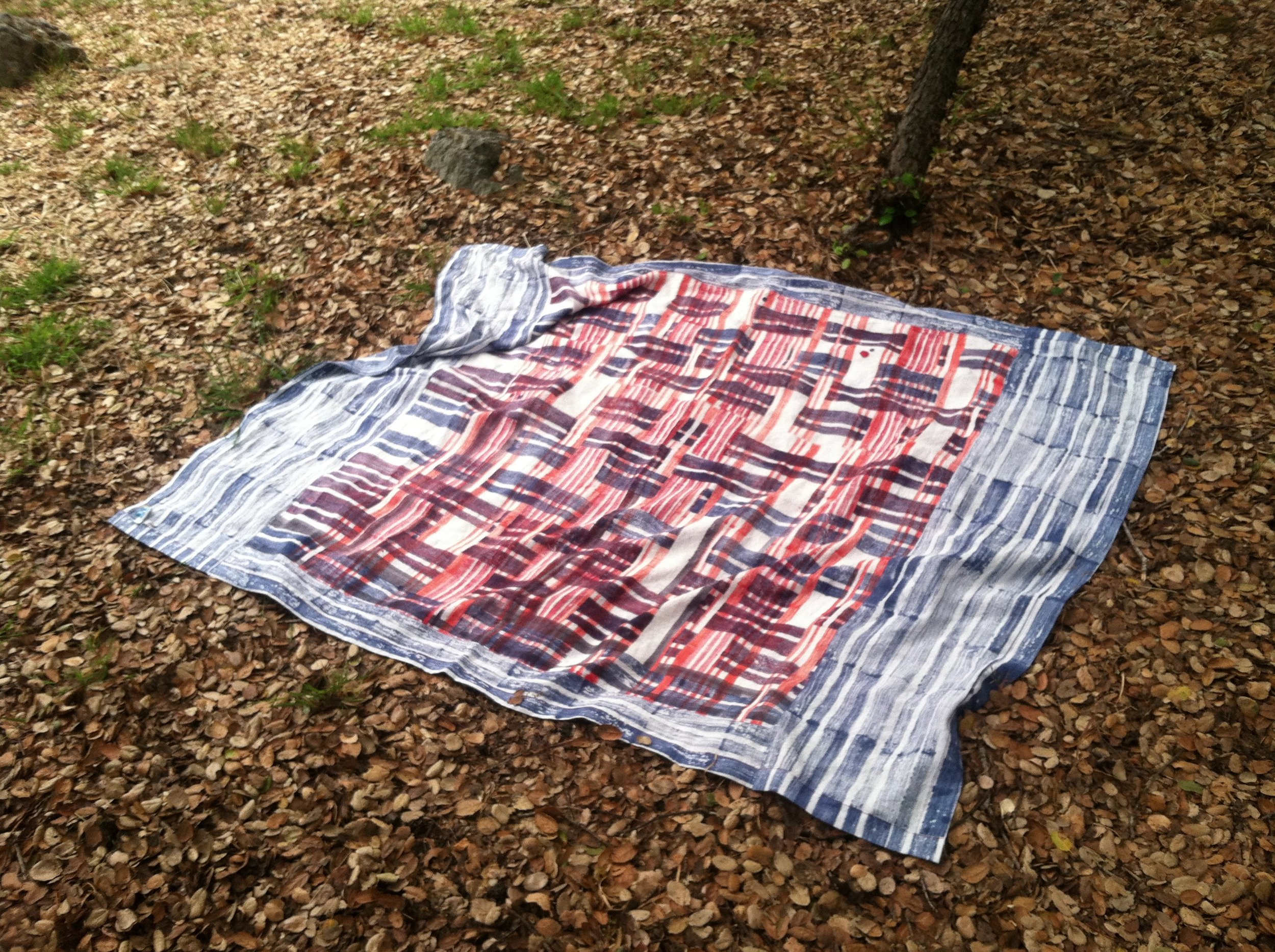 Proto-painting. Tablecloth. 2013  It depends on how you use it. Block print with dye on linen, pieced together borders.
