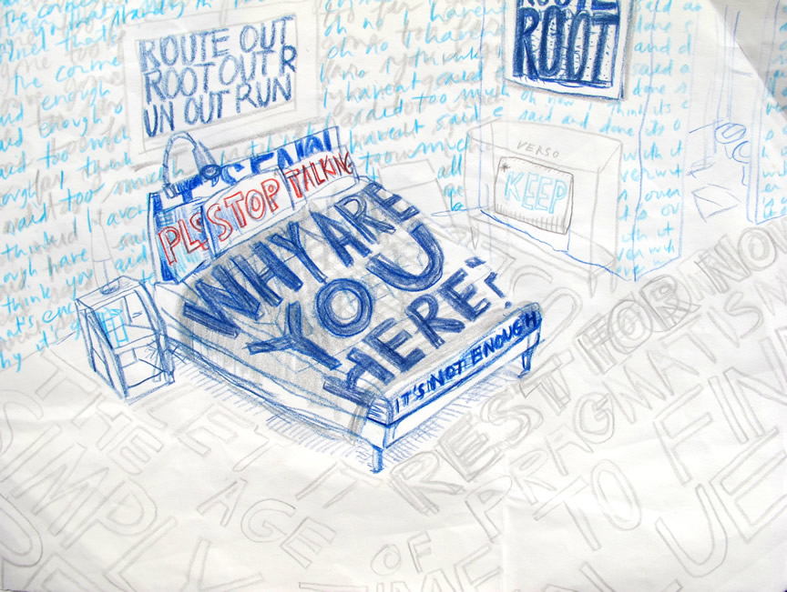 """Why are you here? (Why are YOU here?) 2012  Colored pencil on paper. 13"""" x 11"""""""