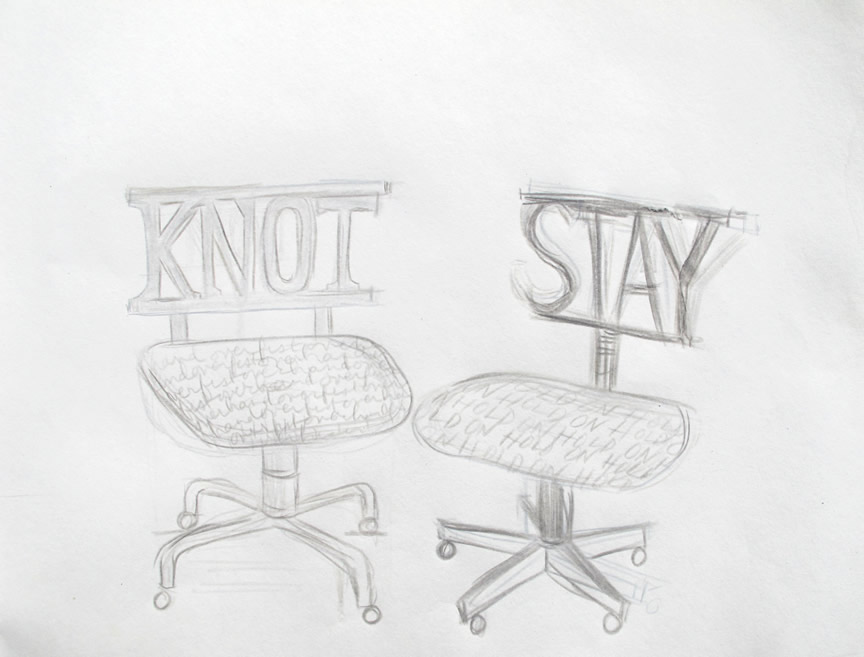 """Knot. Stay. Office chair suggestions. 2012  Pencil on paper. 11"""" x 10"""""""