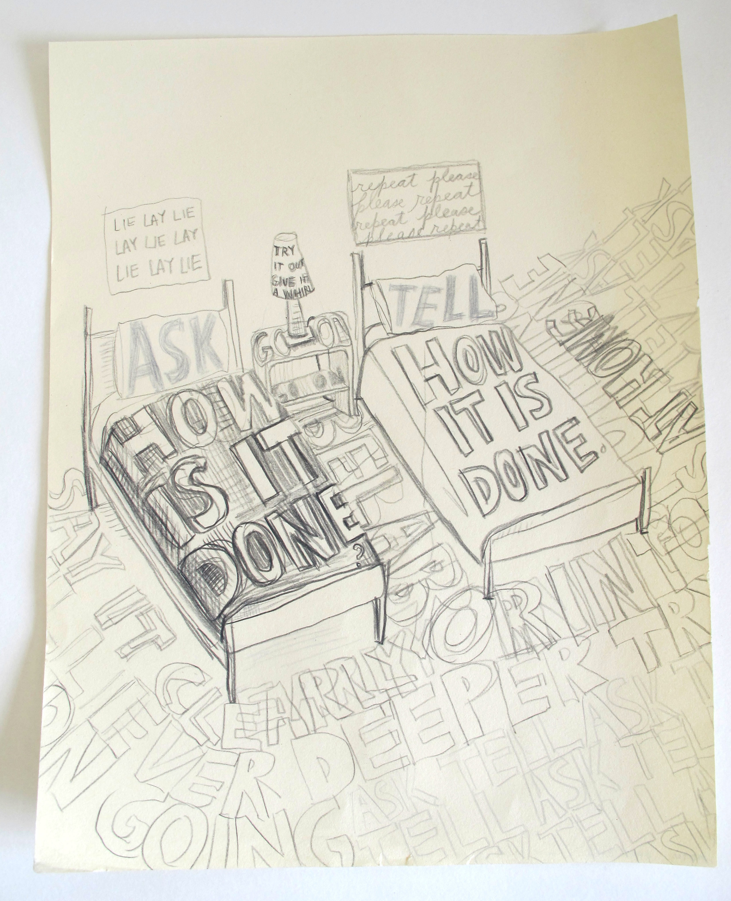 """How Is It Done? How It Is Done. 2012  Black pencil on paper. 11"""" x 13"""""""