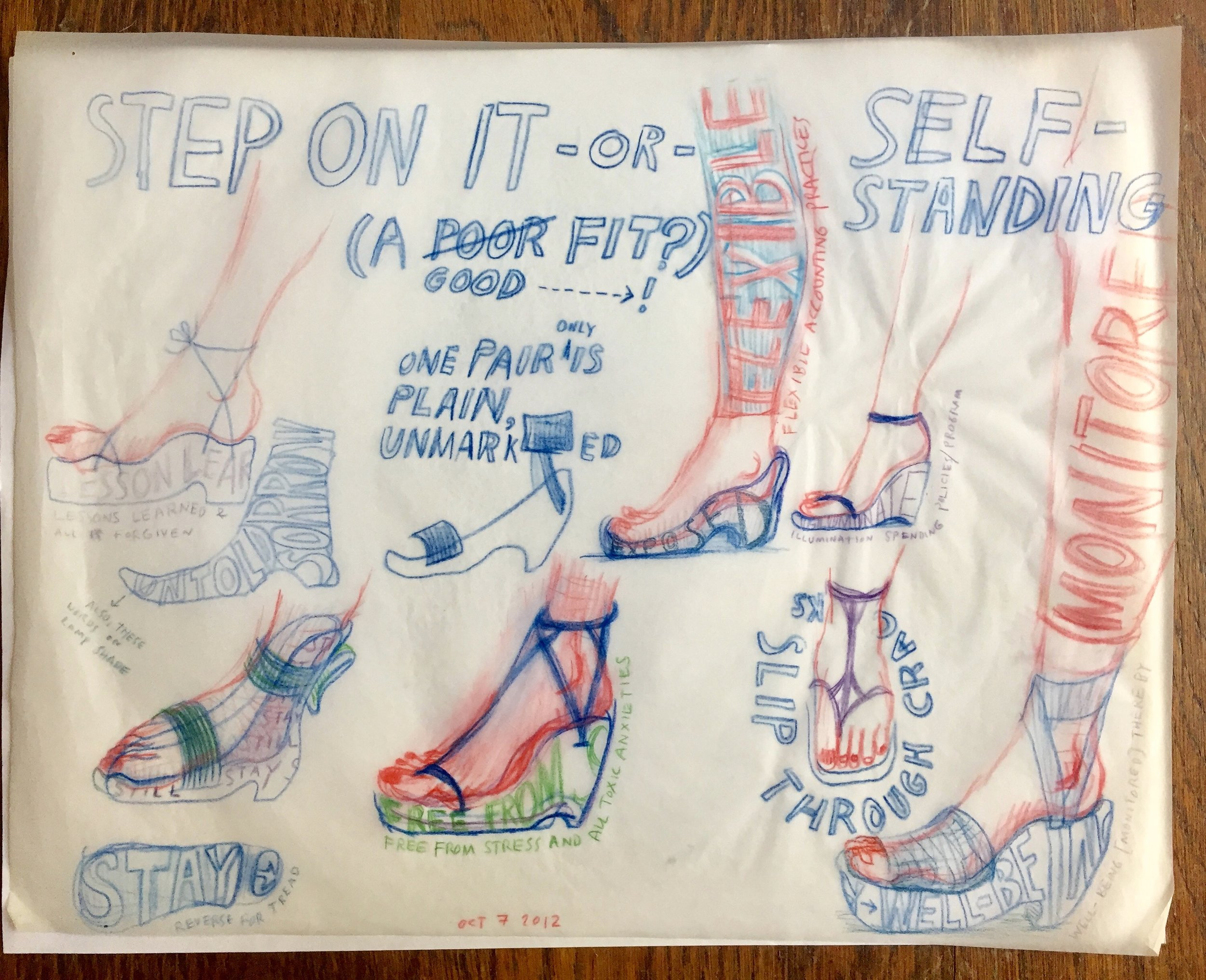 """Some ideas for shoes. 2012  Colored pencil on tracing paper. 13"""" x 12"""""""