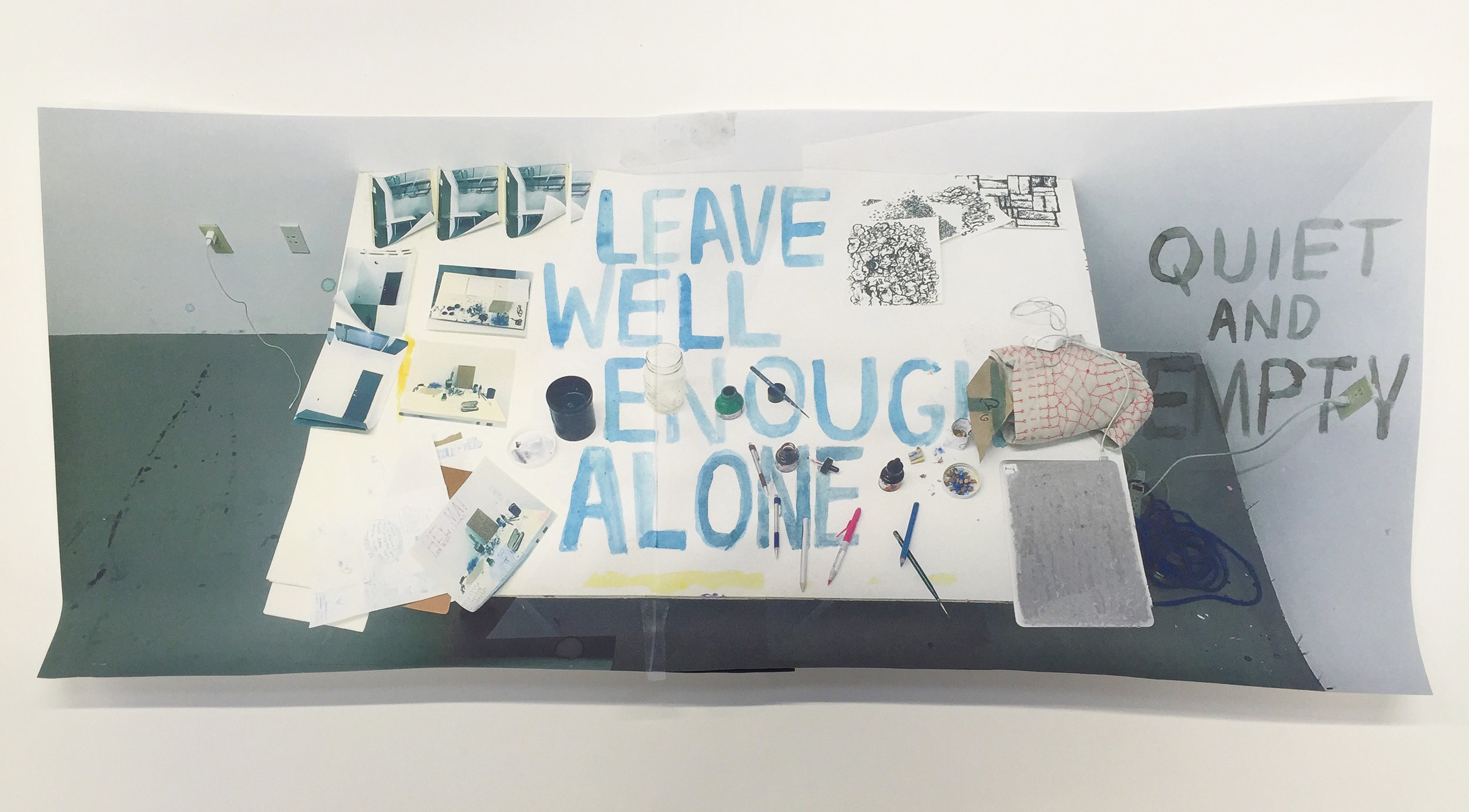 "Leave Well Enough Alone. 2016  Gouache, ink on inkjet print. Onionskin typing paper.20"" x 8.5"""