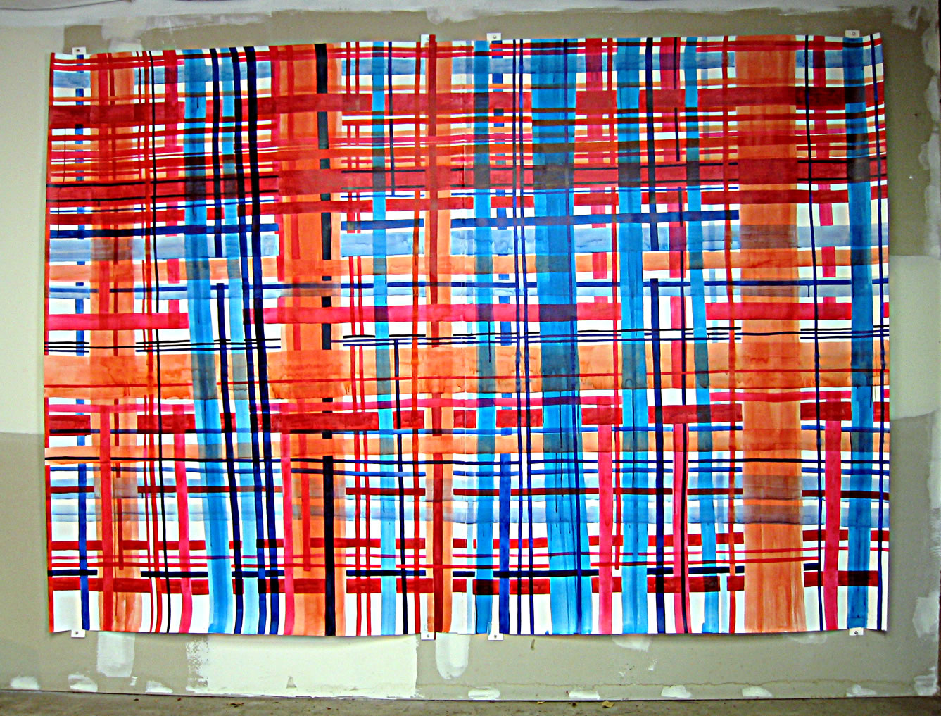 """Big Plaid 2. 2003  Ink on paper (two panels stitched together). 105"""" x 75"""""""