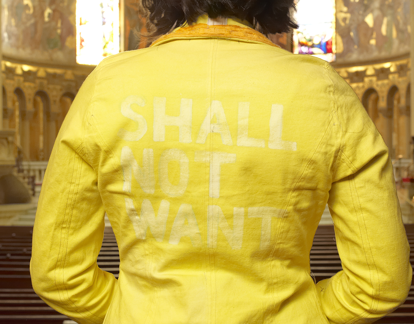 Shall Not Want. 2009 or 2010  Cream stretch-cotton denim (leftover from  Going Off Course , 2004); sewing; dye; bleach; salvaged trim. Cut & sew pattern based on  Stokx design . Photo: Jeffrey Cross