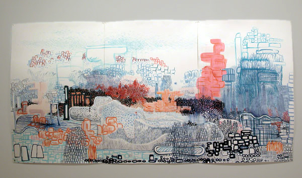 "Highest Point. 2006  Ink on 500# paper. 80"" x 50"""