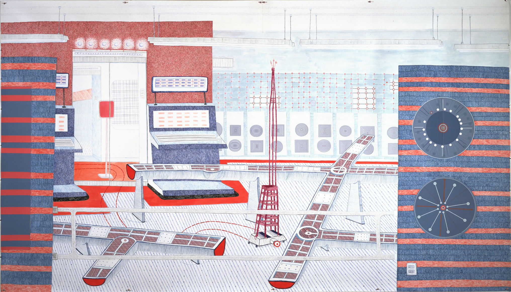 "Rampbuckets Room. From Means of Conveyance. 2001  Ink with digital-print collage details. 110"" x 90"""