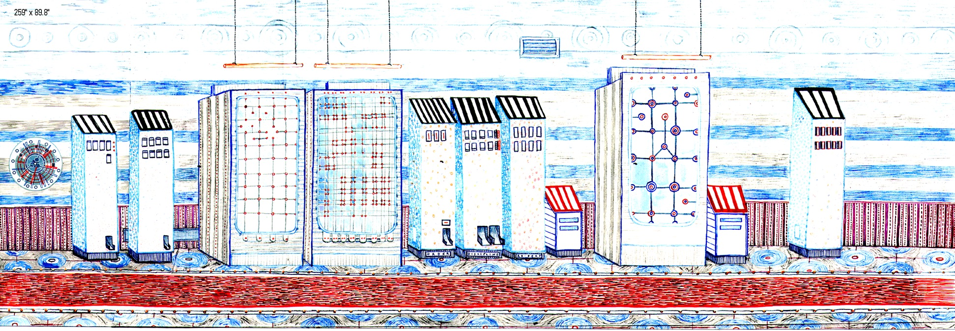 "Vending machines. 2002  Ink on paper. 16"" x 7"""