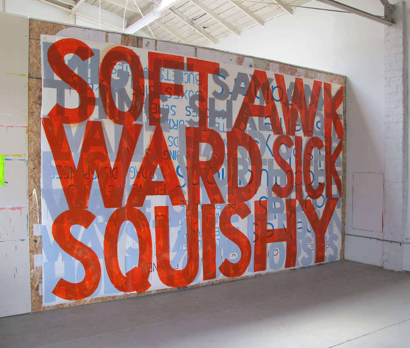 "SOFT AWKWARD SICK SQUISHY 2009-11  Sign paint on laminated digital print. ~200"" x 120"""