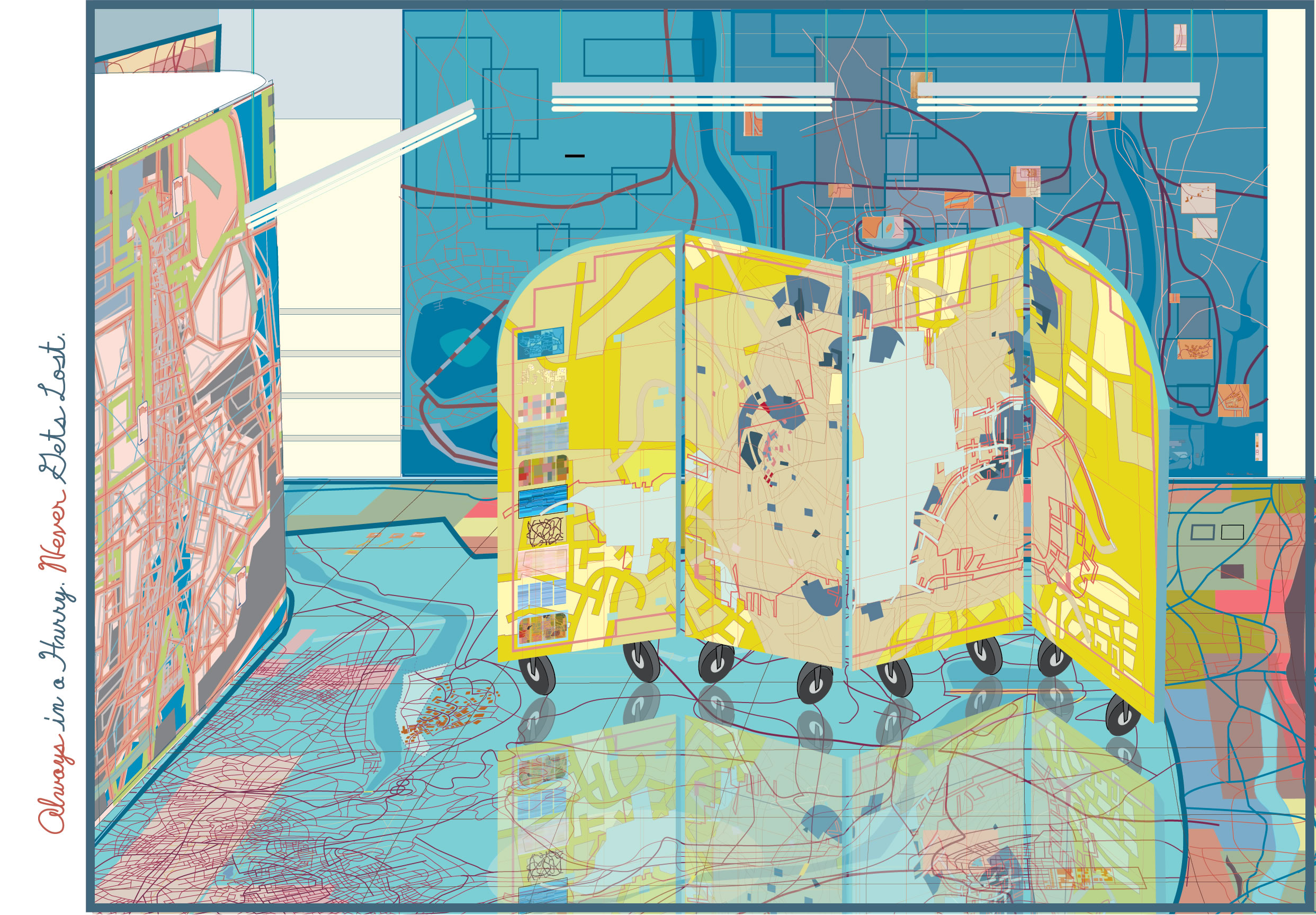 Illustration using images used to create show (at Southern Exposure). Cleaner looking than in real life, below with the blue side of the folding screen visible.