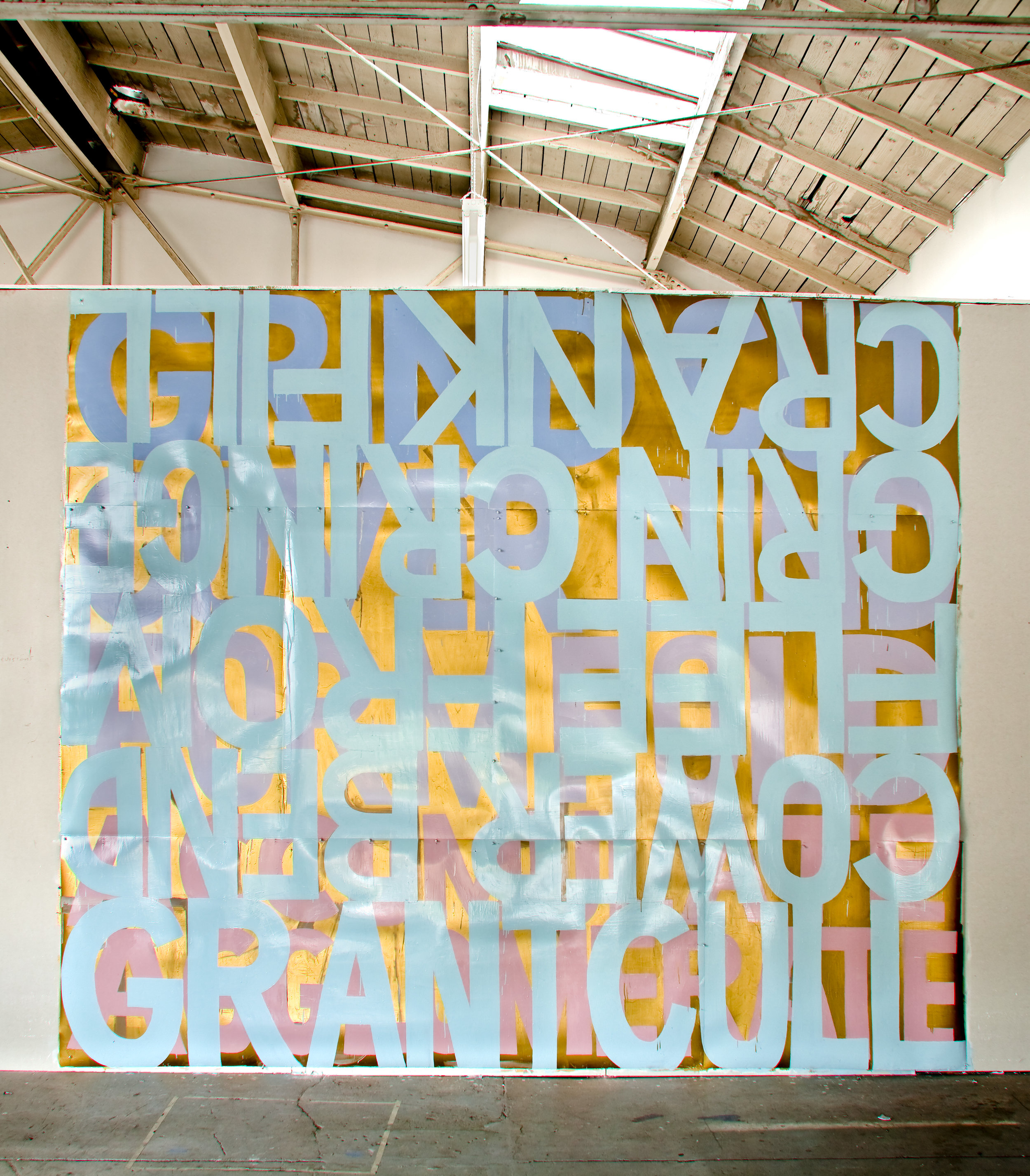 """GRANT CULL / COWER BEND / FLEE FROM / GRIN CRINGE / CRANK FILL 2009-10  Sign paint on laminated digital prints (used in an installation circa 1997-8). 110"""" x 120"""" Photo: Jeannie O'Connor"""