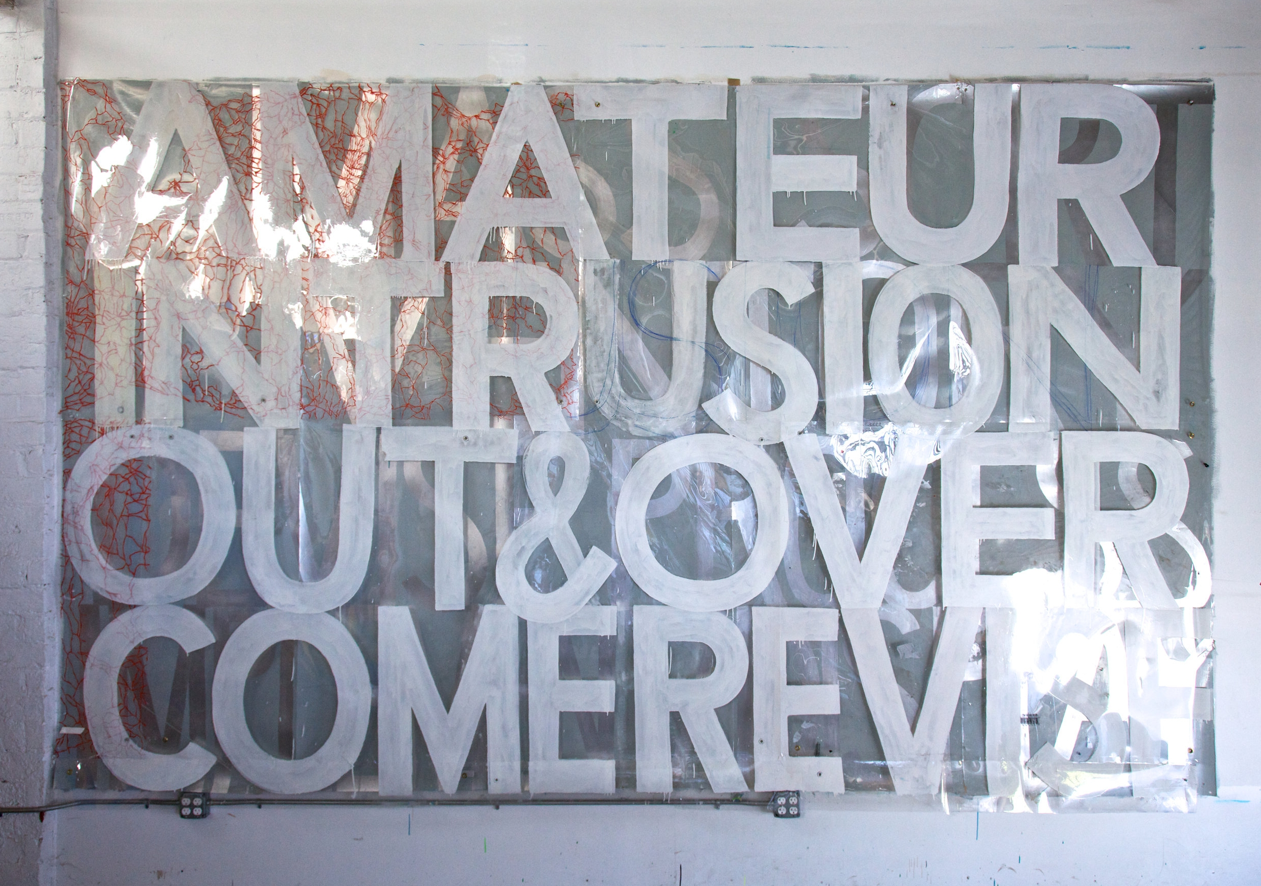 AMATEUR INTRUSION 2010  2-layers. Sign paint on clear plastic (unfinished 1994 painting),sign paint on laminated digital print. Photo: Liz Roosendaal