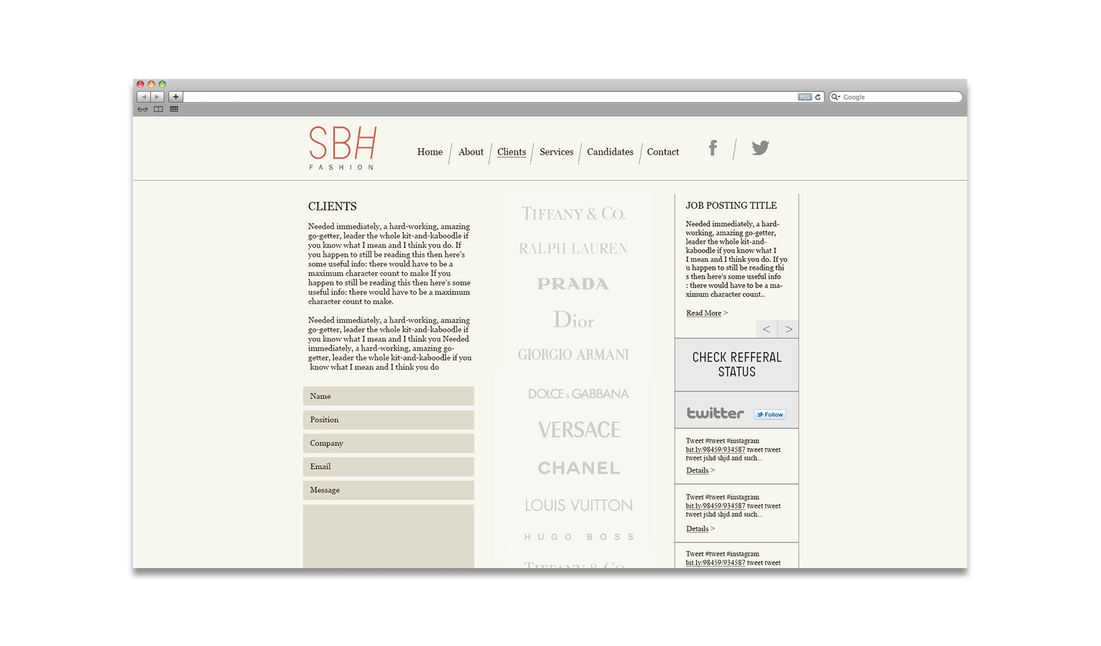 SBH Fashion Retail Website Design New York City