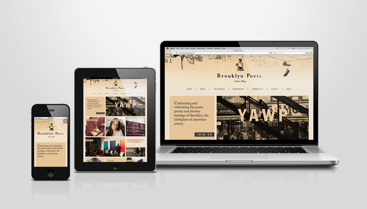 Edgy Responsive Website Design for Brooklyn Poets