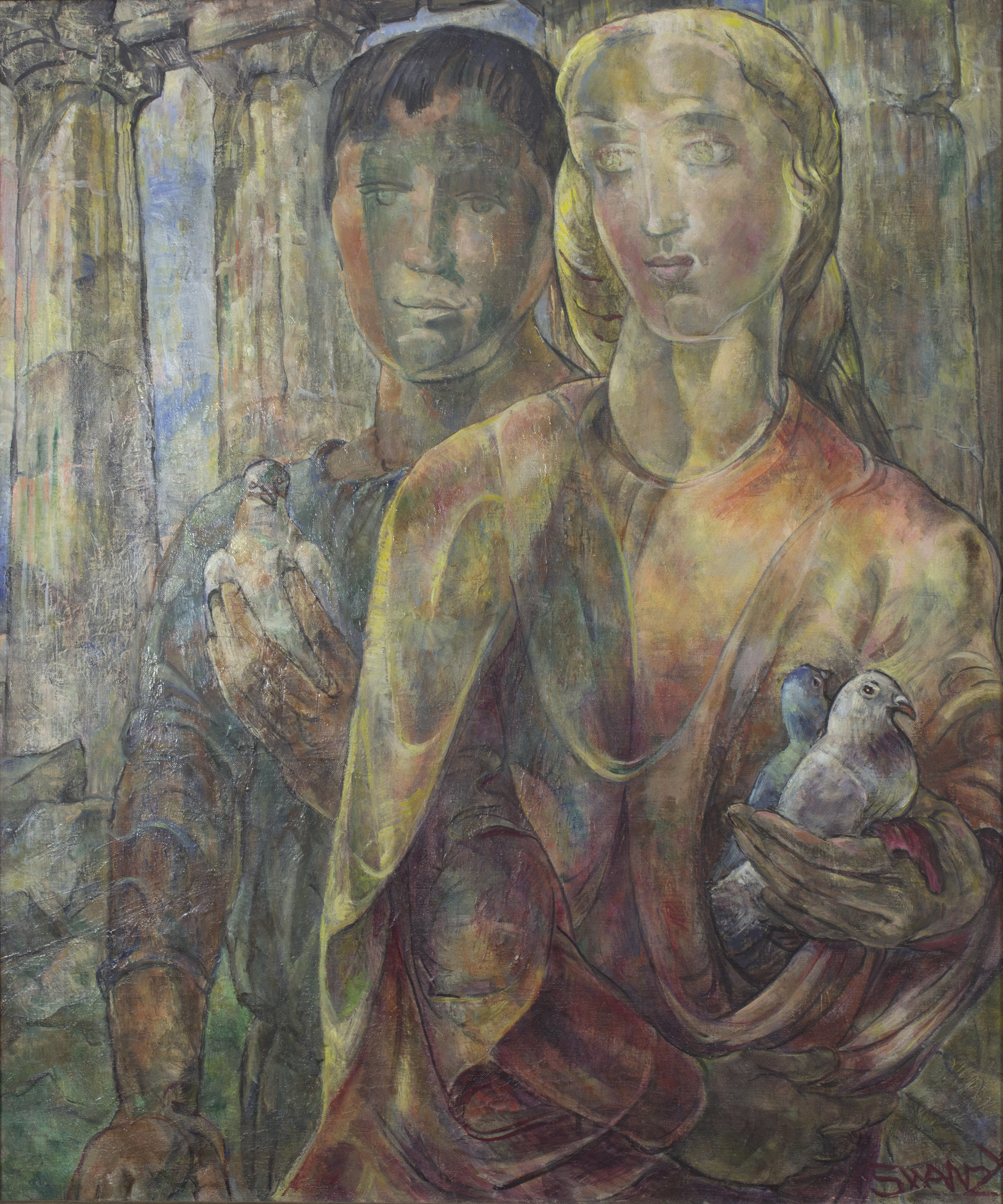 Mary Swanzy 'The Temple Offering' 1943 oil on canvas 75x63cm