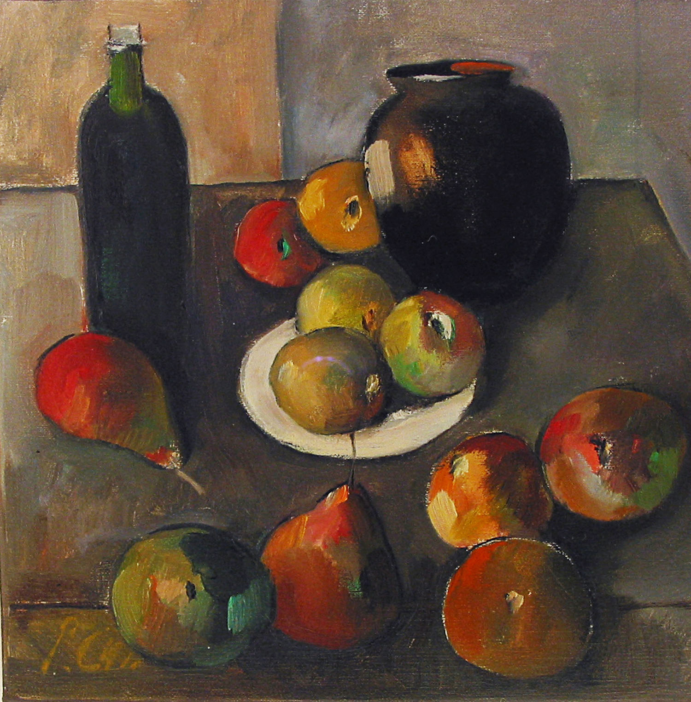 Peter Collis_-_Fruit, Vase, Bottle and White Plate_oil on canvas_25.5 x 25.5cm.jpg