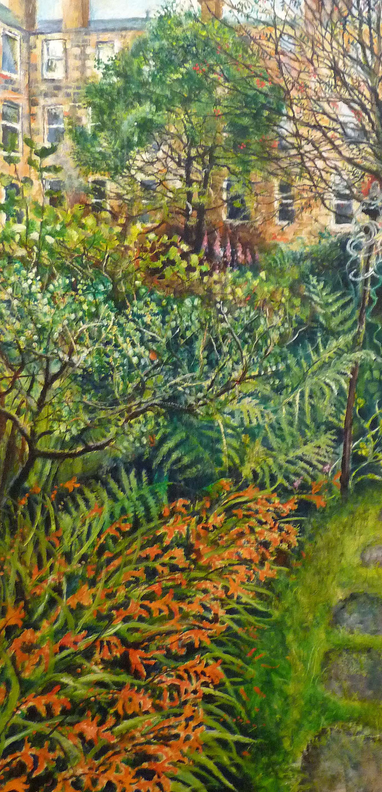 Sarah Longley_-_Back Garden Triptych 1 - Montbretia and Rowan Tree_oil on board_138 x 70cm.jpg