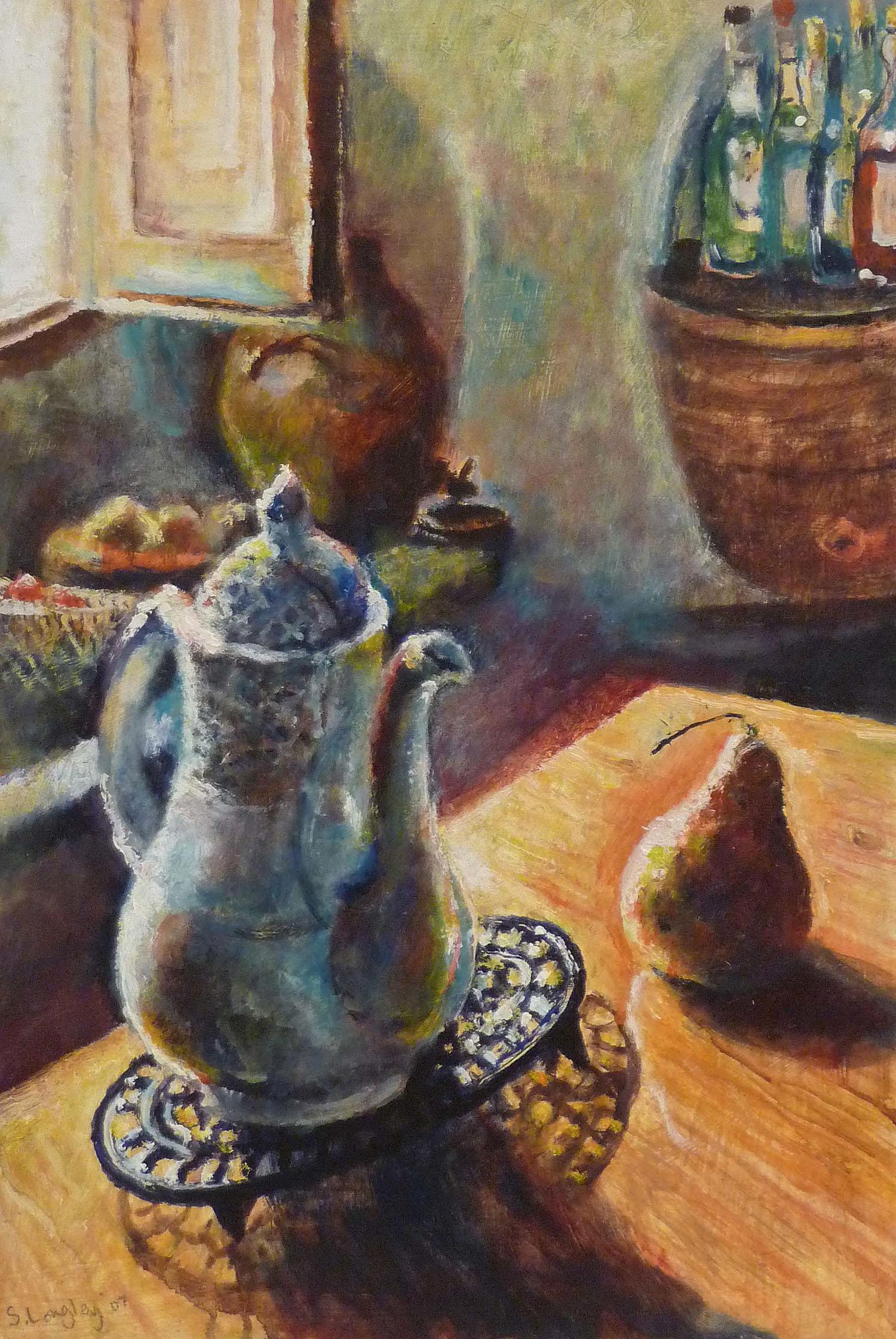 Sarah Longley_-_Coffee Pot and Pear_oil on board_45 x 31cm.jpg