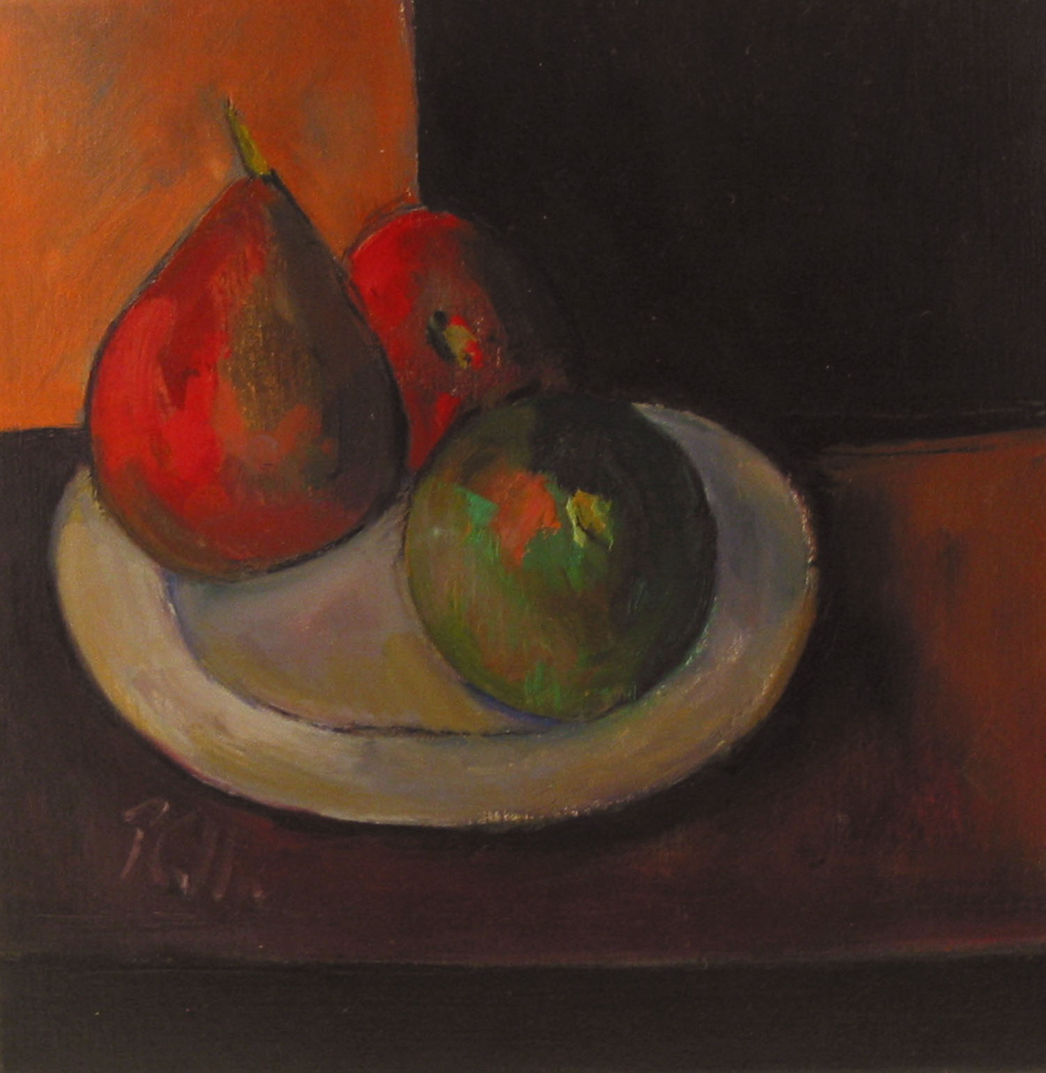 Peter Collis_-_Fruit and Plate on Table_oil on canvas_25.5 x 25.5cm.jpg