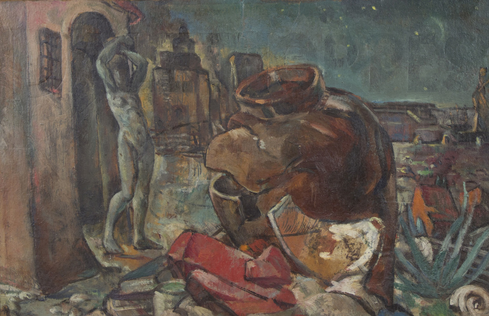 Mary Swanzy 'Study For Sleepwalker' c. 1938 oil on board 25x39cm.jpg