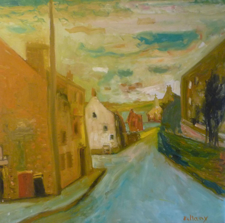 John Bellany 'Village' oil on canvas 122x122cm.jpg