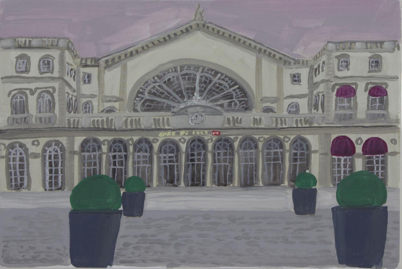 Andrew Vickery 'Gare DeL'Este 2' 2011 gouache on card 27x39cm.jpg