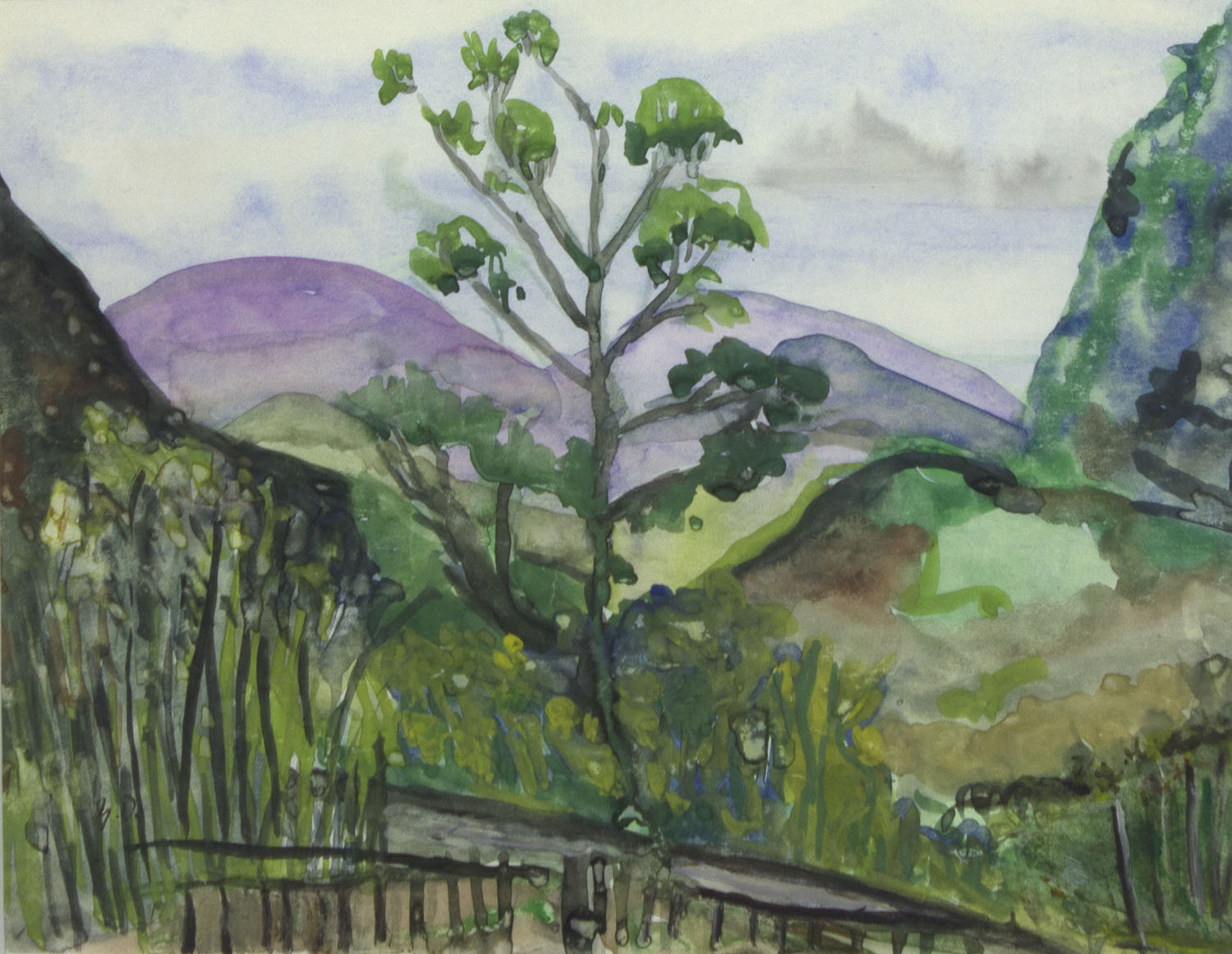 Gerad Dillon 'Tree In The Landscape' watercolour 22x29cm.jpg
