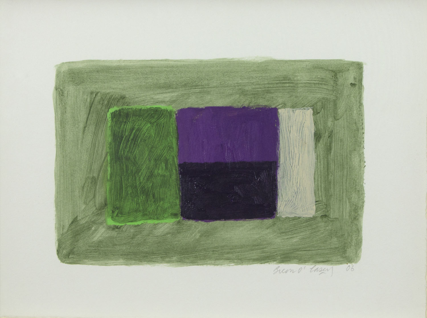 Breon O'Casey 'Green To The Side' 2006 acrylic on paper 28x37cm.jpg