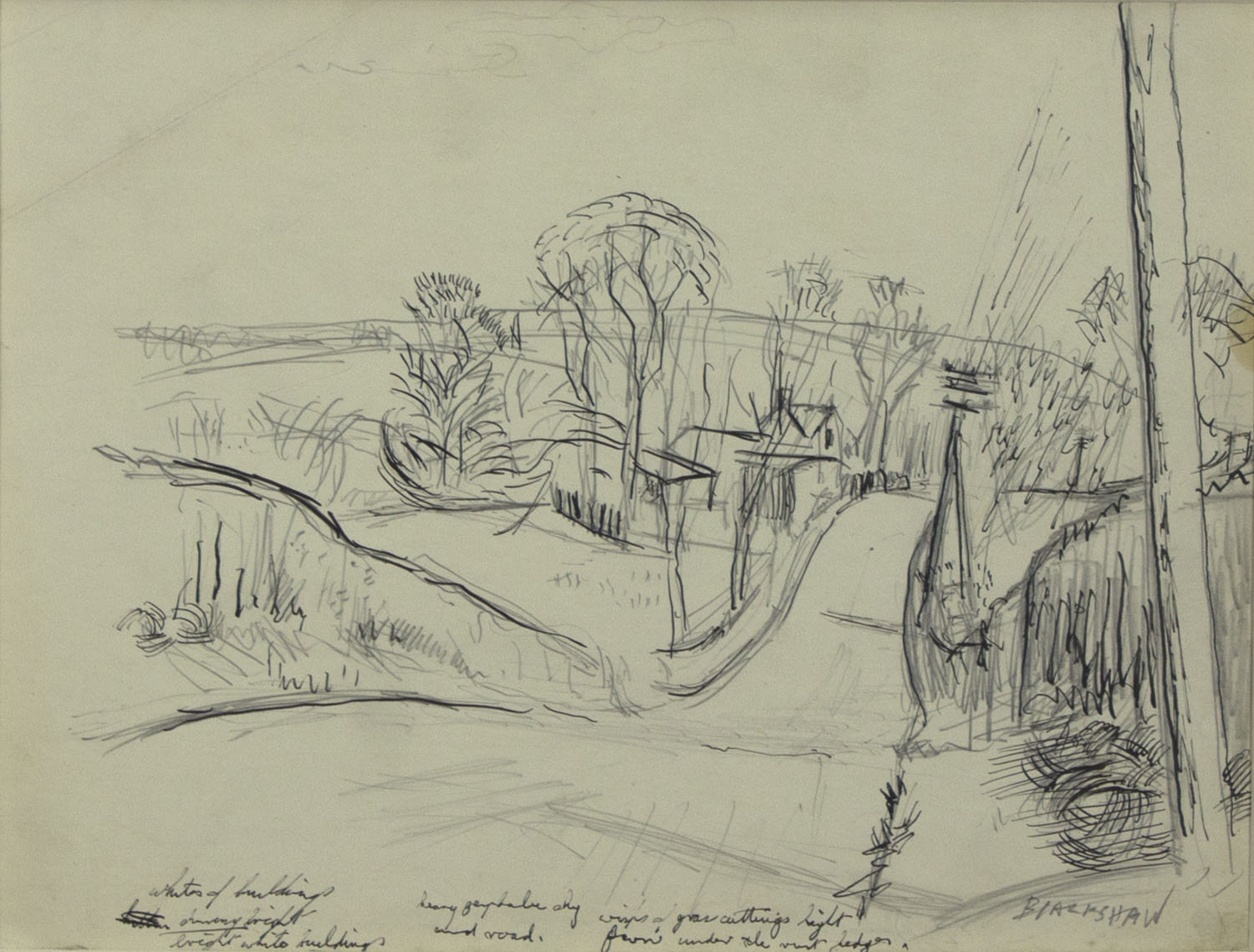 Tony O'Malley 'Old Walls Co Wexford' c.1950 pen and ink 15x20cm.jpg